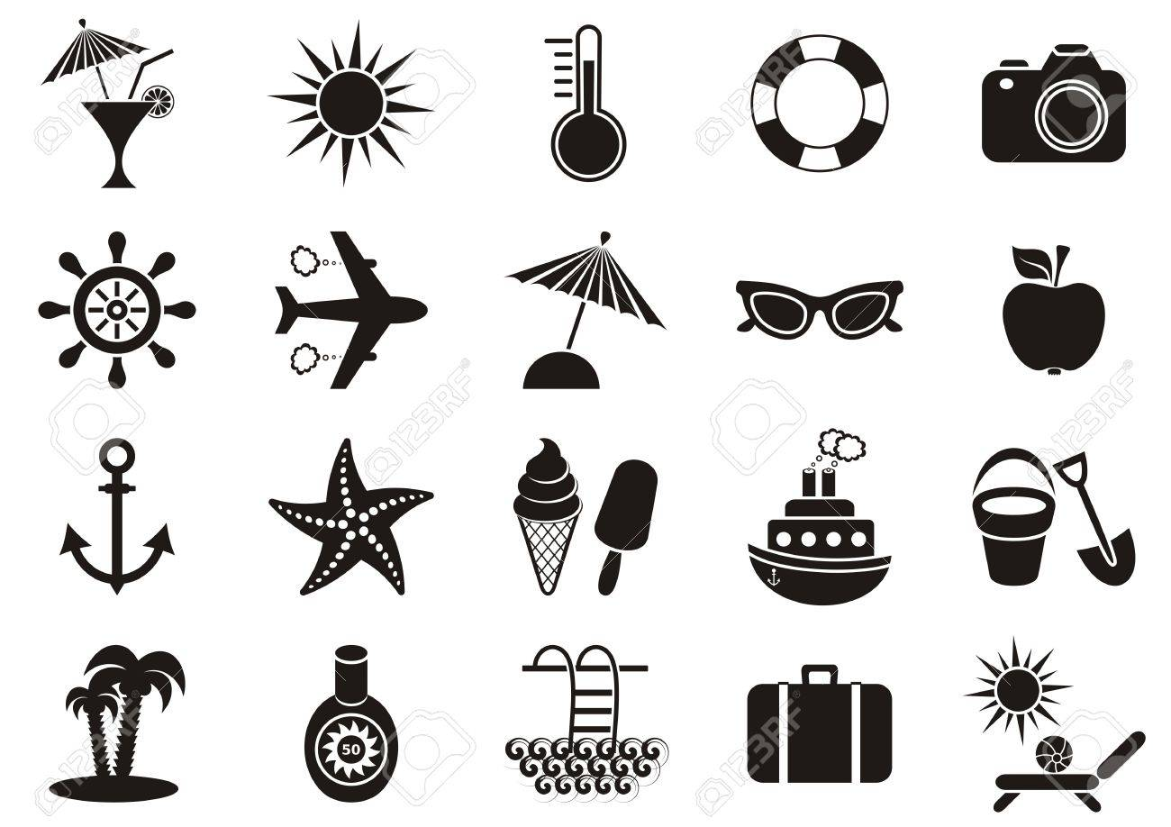 black vector summer icons collection on white background royalty free cliparts vectors and stock illustration image 27454266 black vector summer icons collection on white background