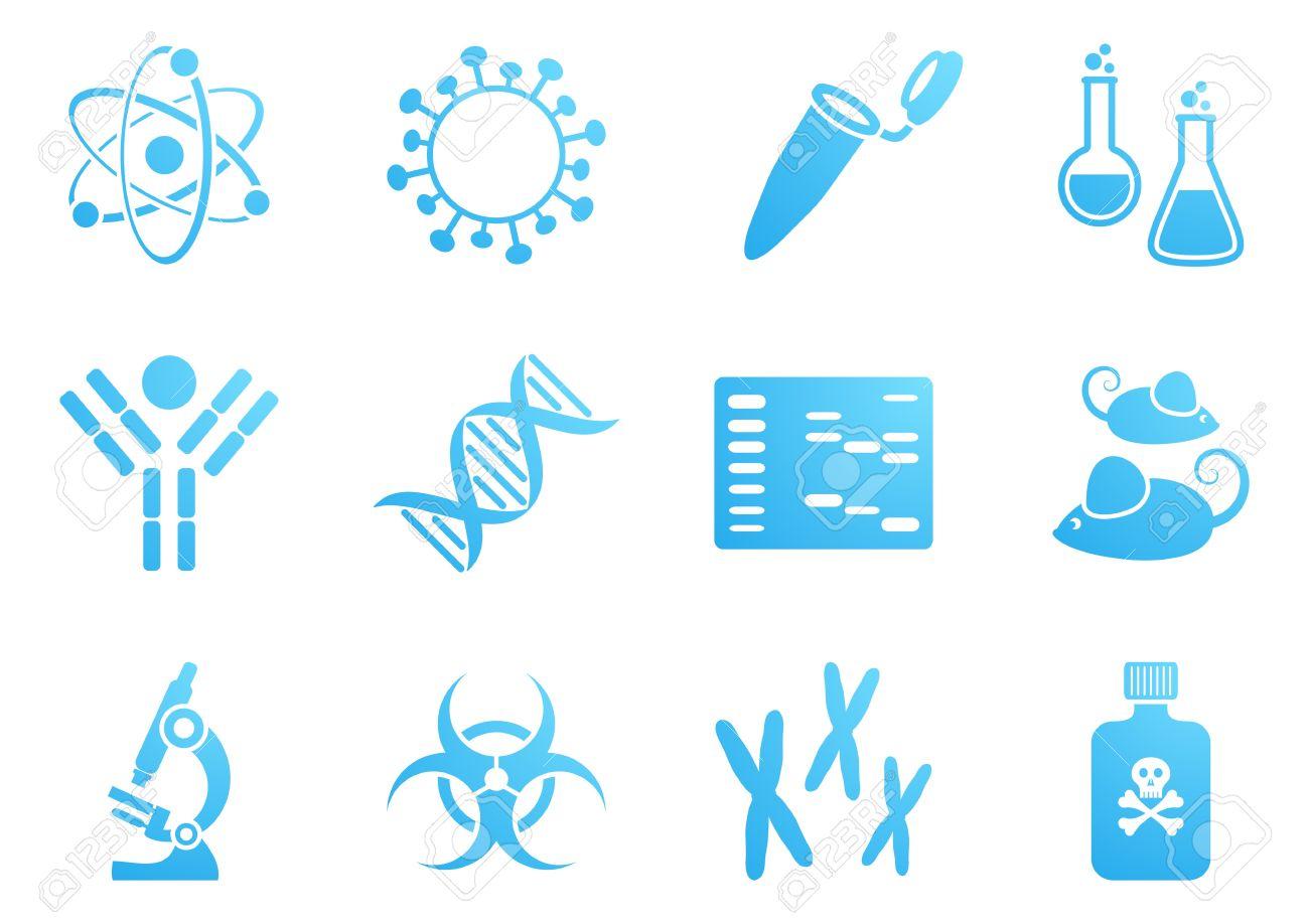 set of blue modern molecular biology science icons royalty free