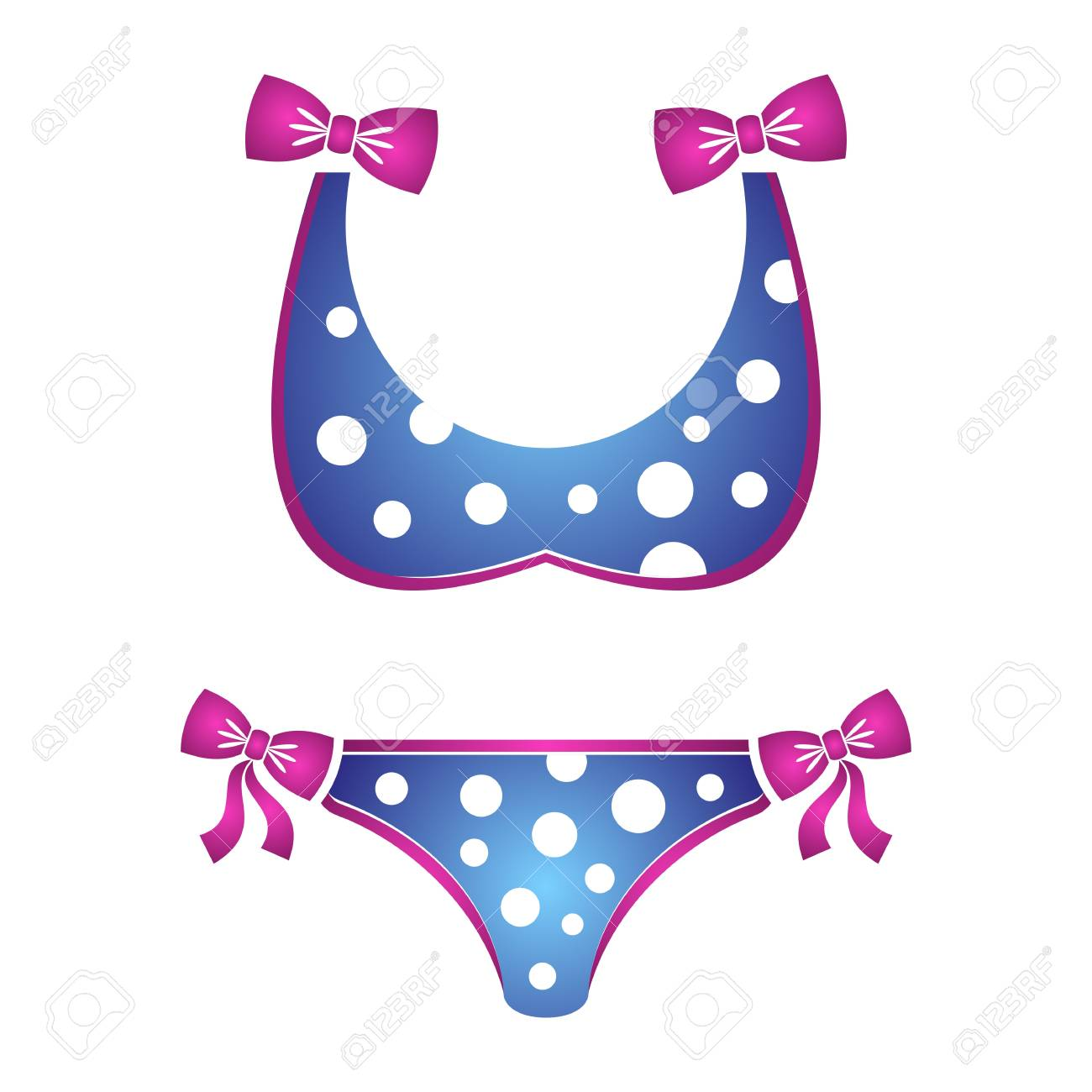 fe16cfc2973 illustration of dotted blue bikini swimsuit isolated Stock Vector - 28400153