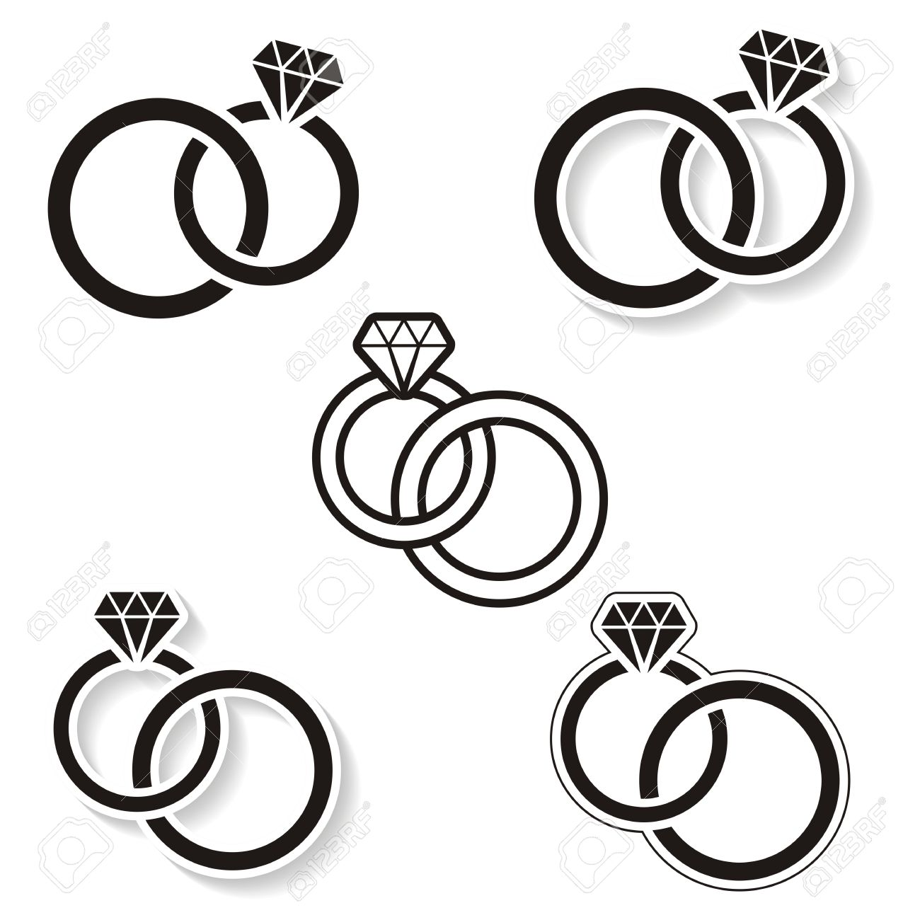 Black Wedding Rings Icon On White Background: Wedding Band Clip Art At Reisefeber.org