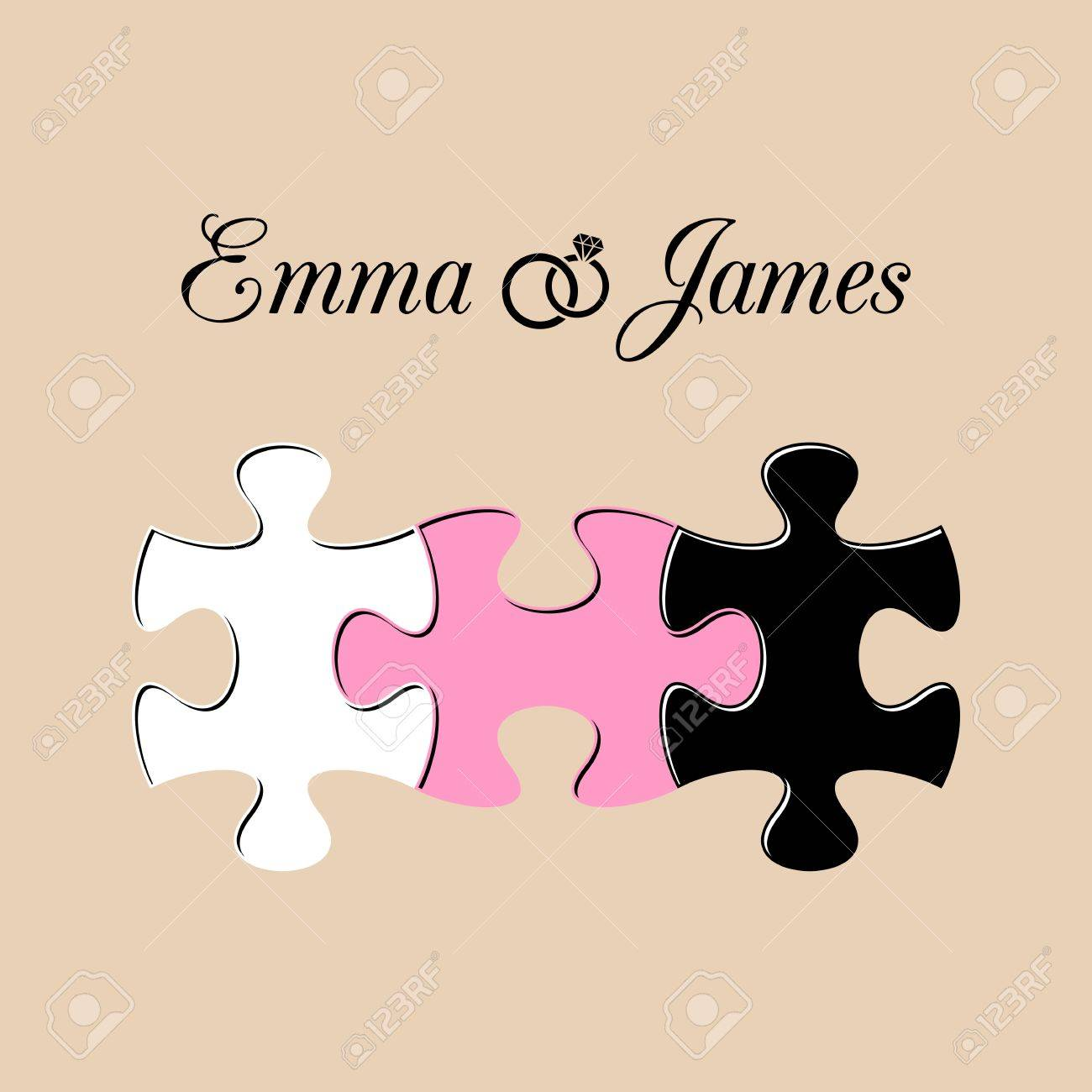Simple Wedding Invitation With Three Joined Puzzle Pieces Stock Vector