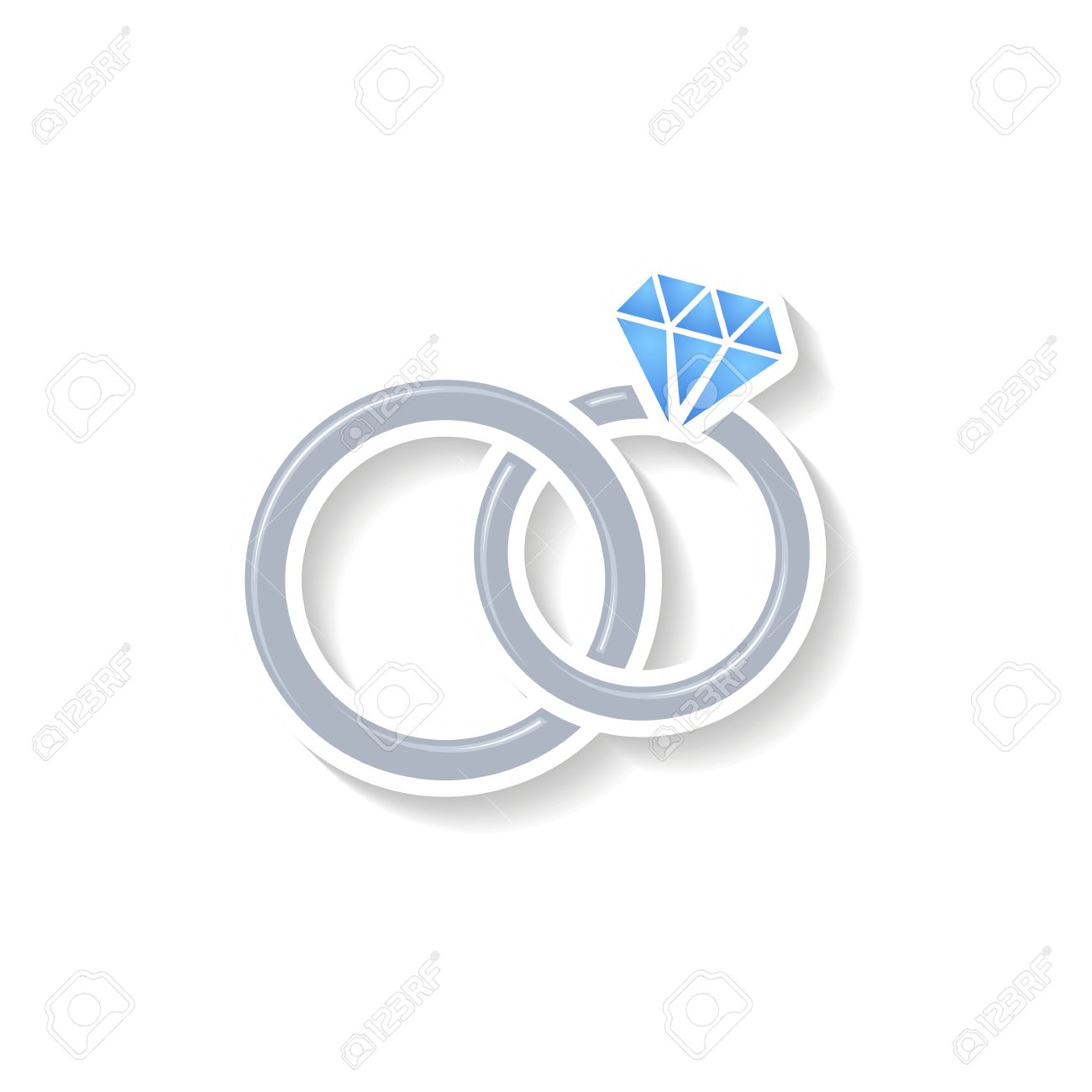 Silver Vector Wedding Rings Icon On White Background Royalty Free