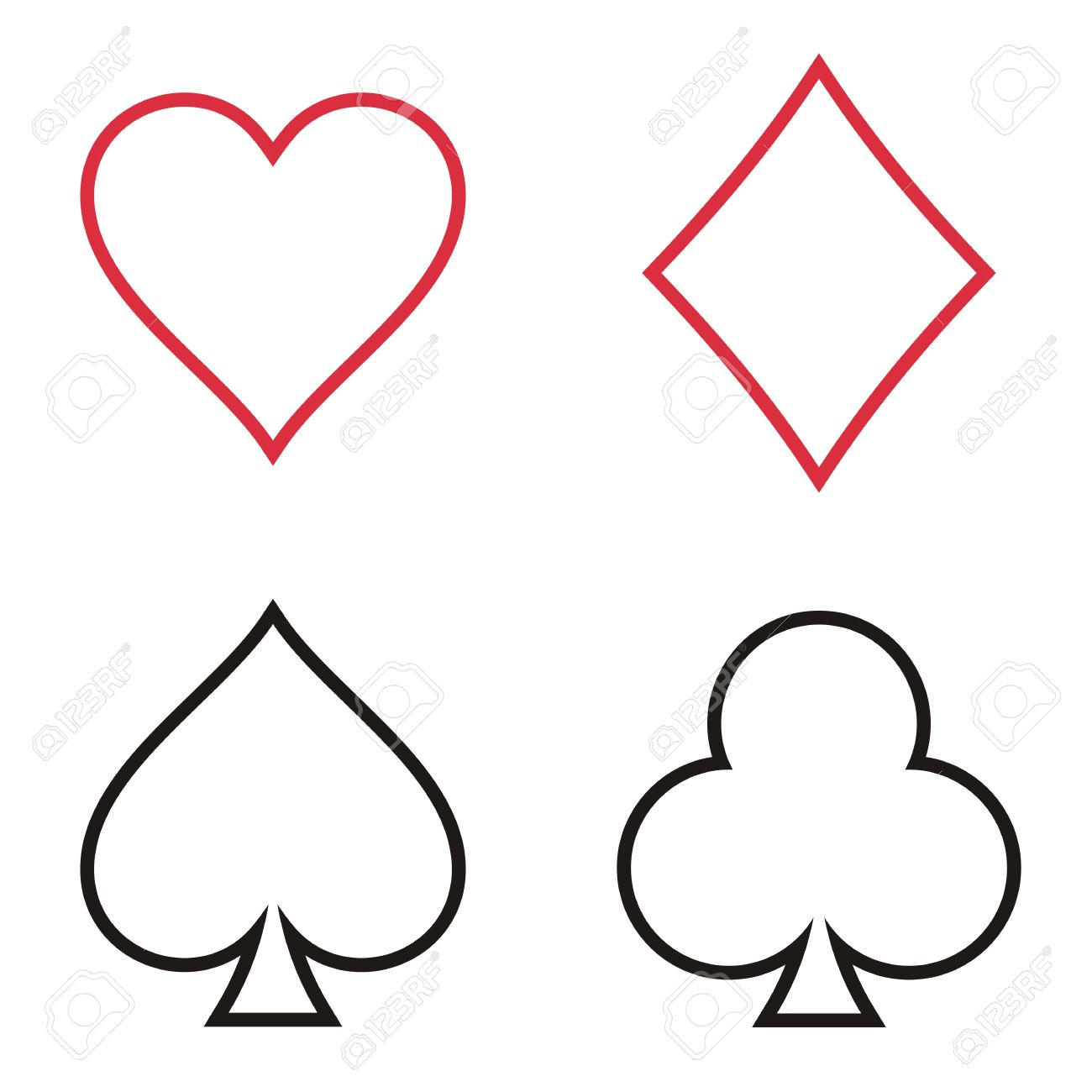 playing cards outline symbols collection on white background royalty rh 123rf com playing cards vector images playing cards vector free