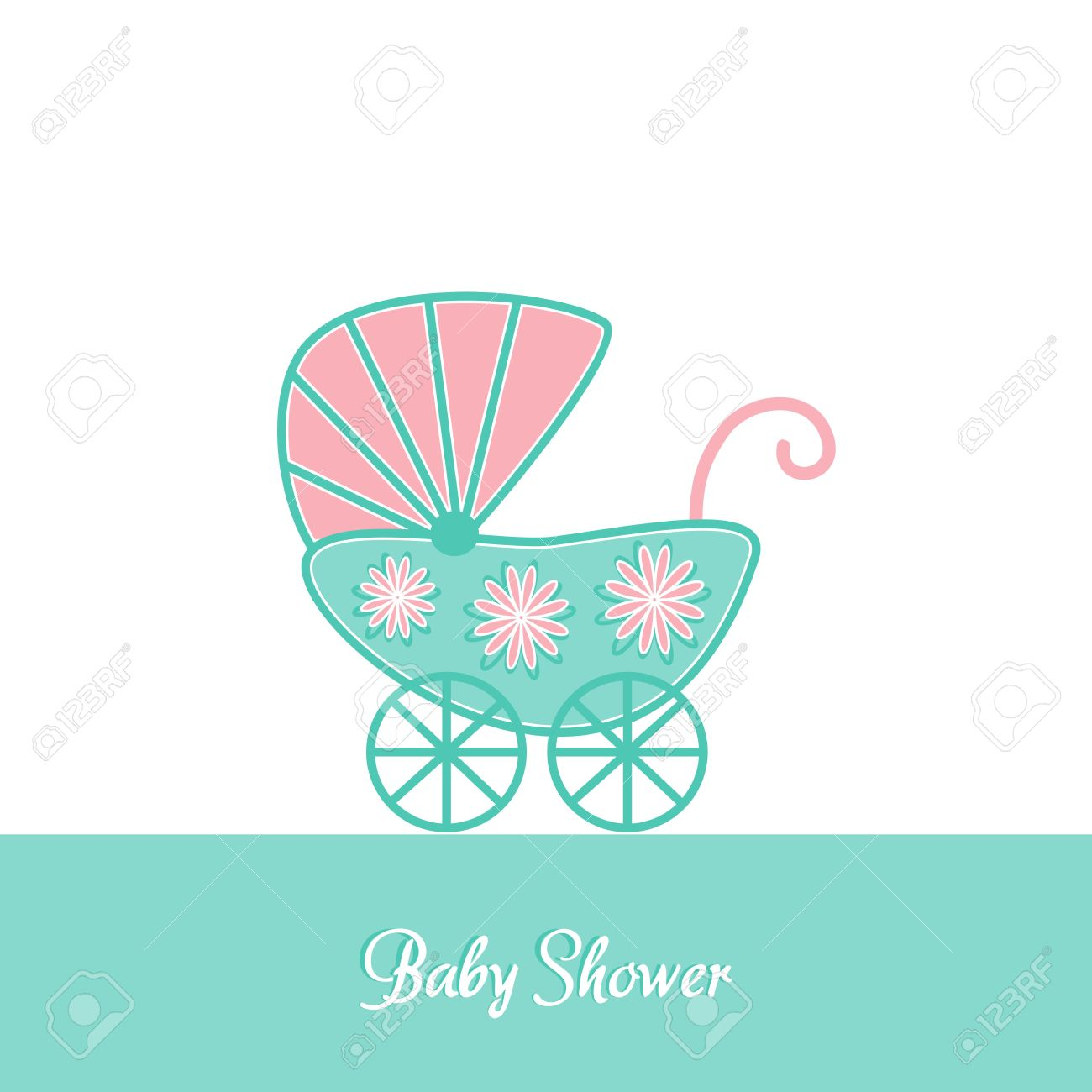Baby Shower Vintage Invitation Card Template With Stroller Royalty ...