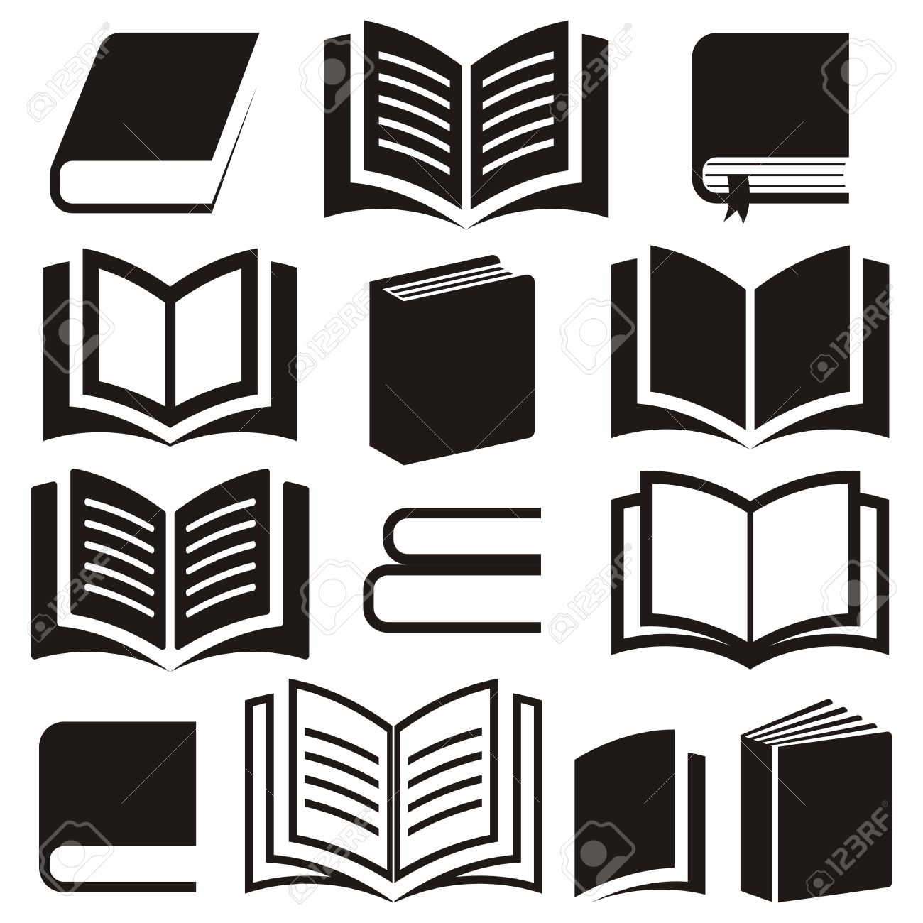 Black Vector Book Icons Collection On White Background Stock
