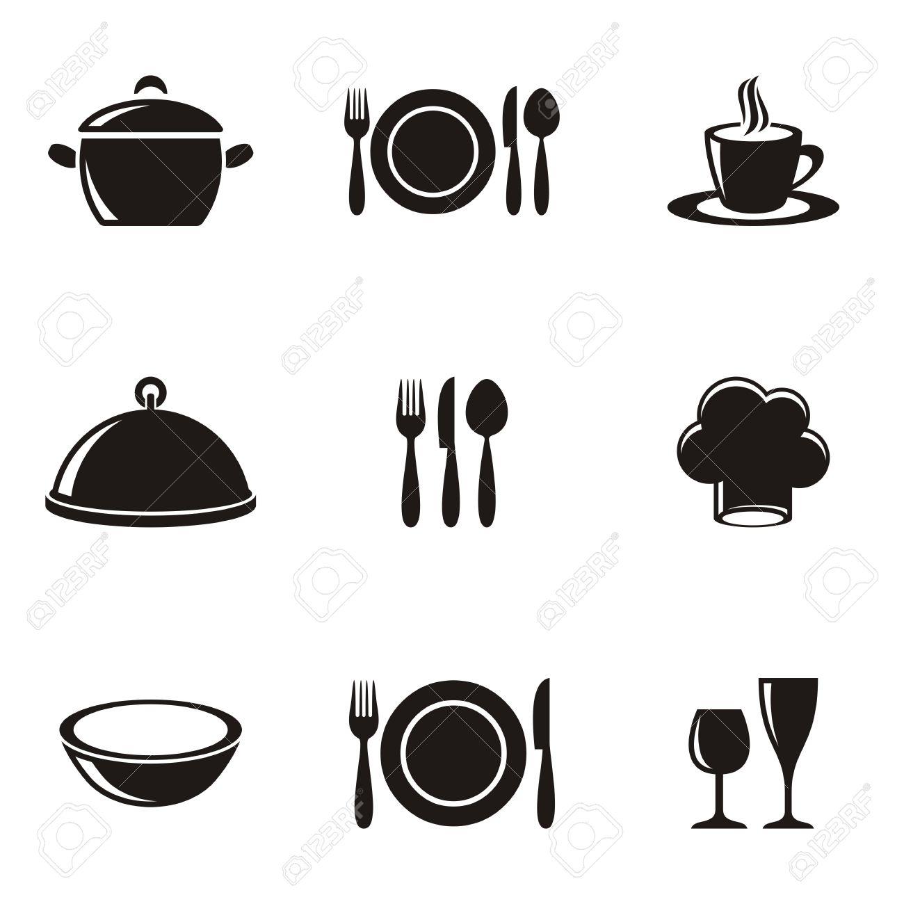 kochen und küche speisekarte silhouette icons sammlung lizenzfrei ... - Kochen Und Küche