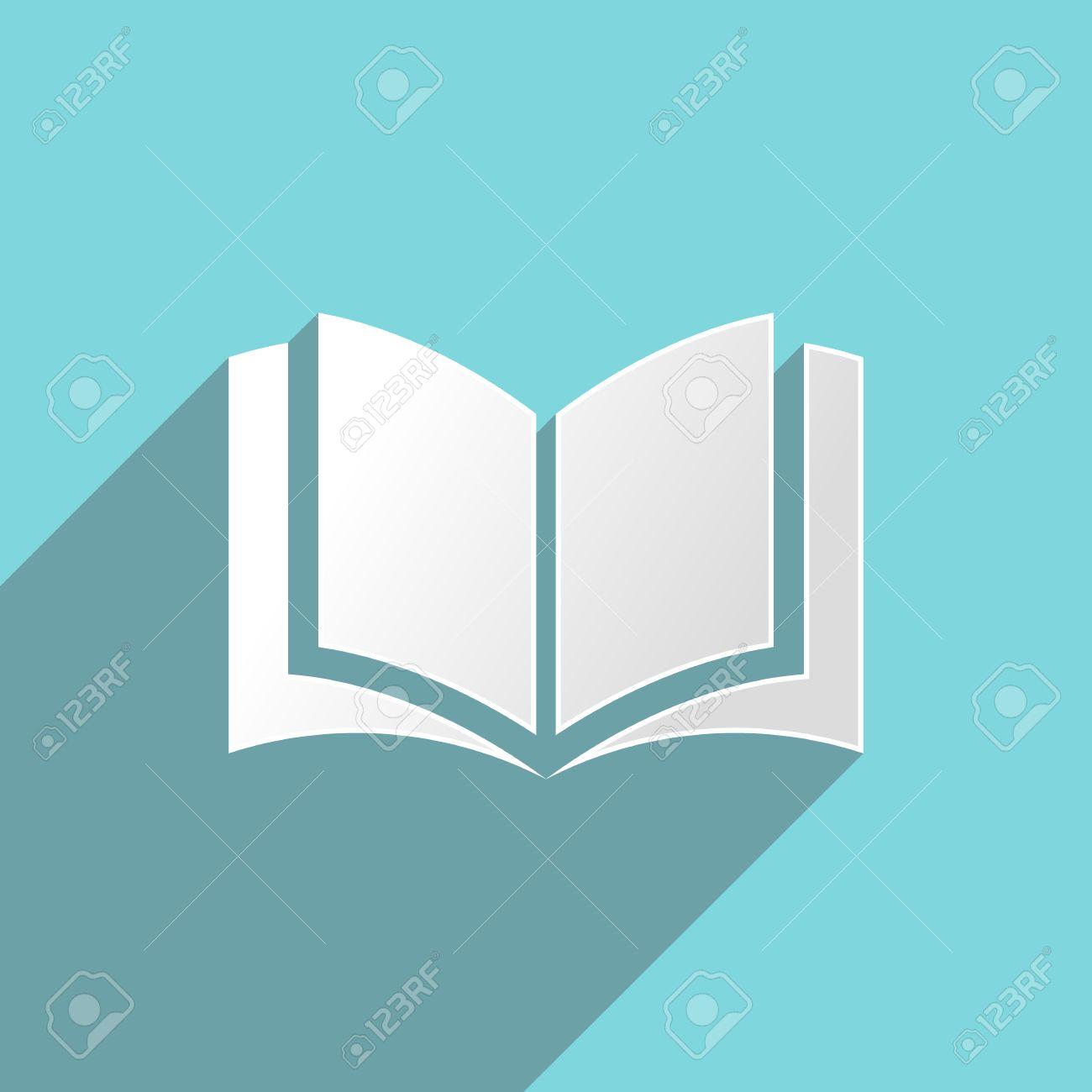 Livre Blanc Sur Fond Turquoise Icone Design Plat