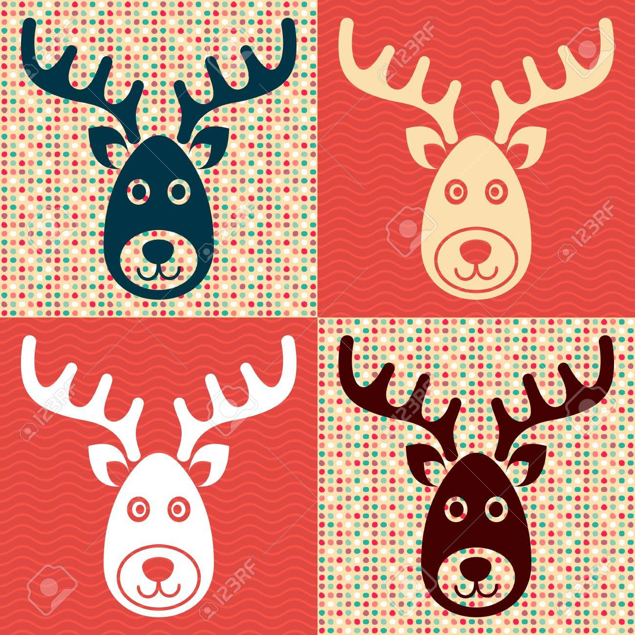 Sfondi Natalizi Renne.Vettoriale Vector Renne Faccia Icone Di Natale Su Sfondi Retro