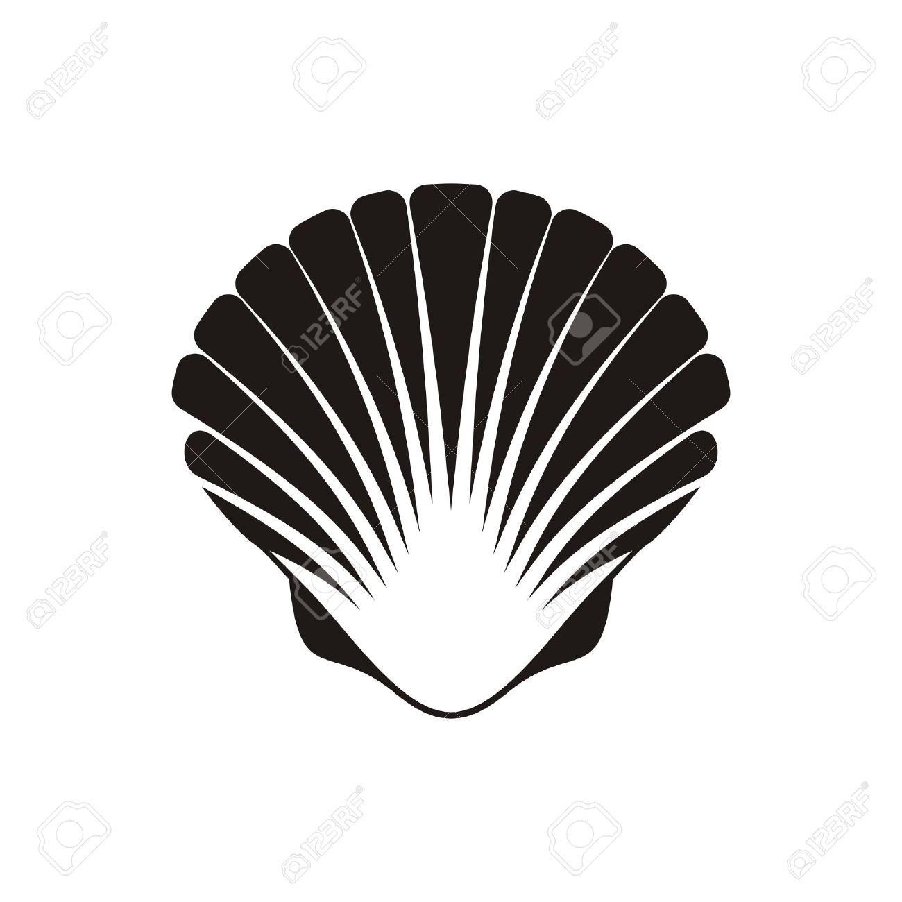 白地に黒ベクトル ホタテ貝殻アイコンのイラスト素材ベクタ Image