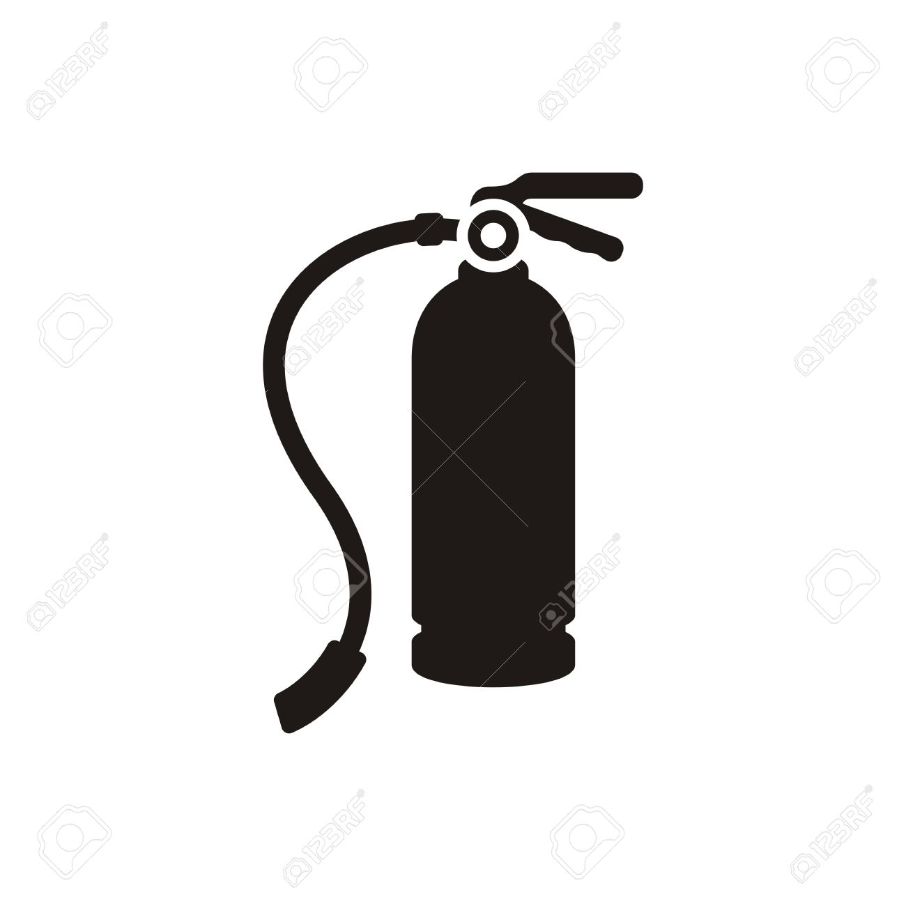 Simple black fire extinguisher icon isolated