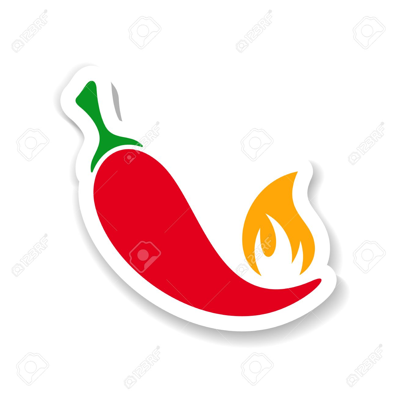 vector red hot chili pepper with flame sticker royalty free cliparts rh 123rf com red chili pepper clipart free chili pepper clip art borders free