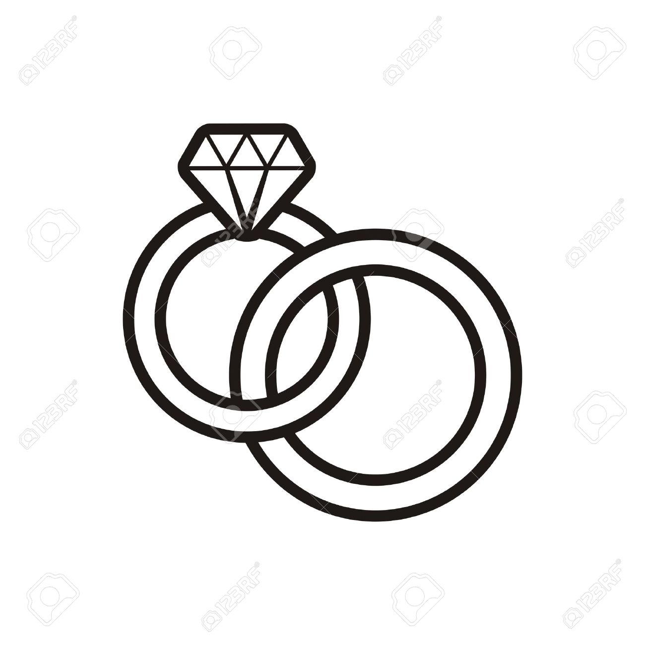 Black Vector Wedding Rings Outline Icon On White Royalty Free