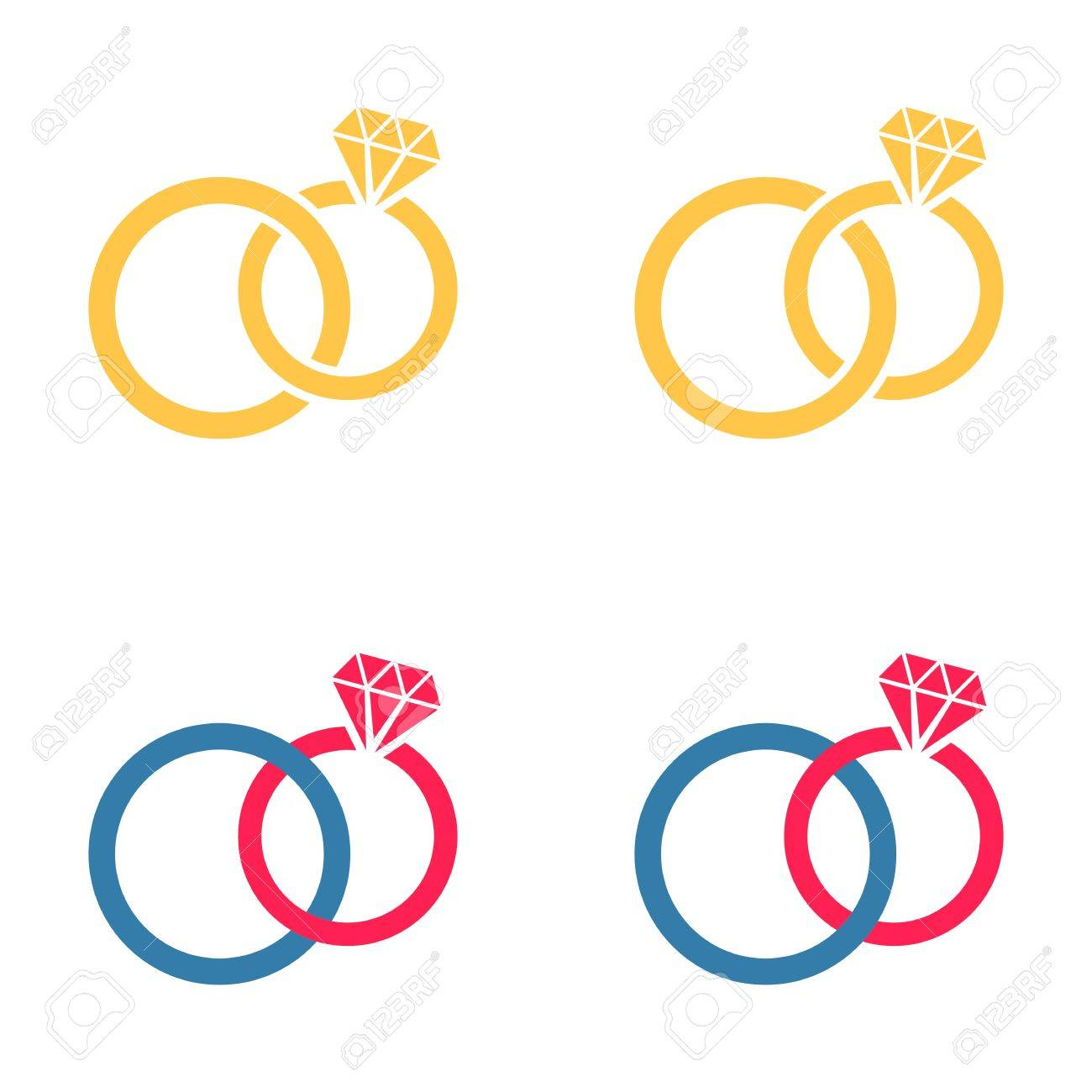 vector colorful different wedding rings pairs joined together rh 123rf com wedding vector clip art wedding vector png