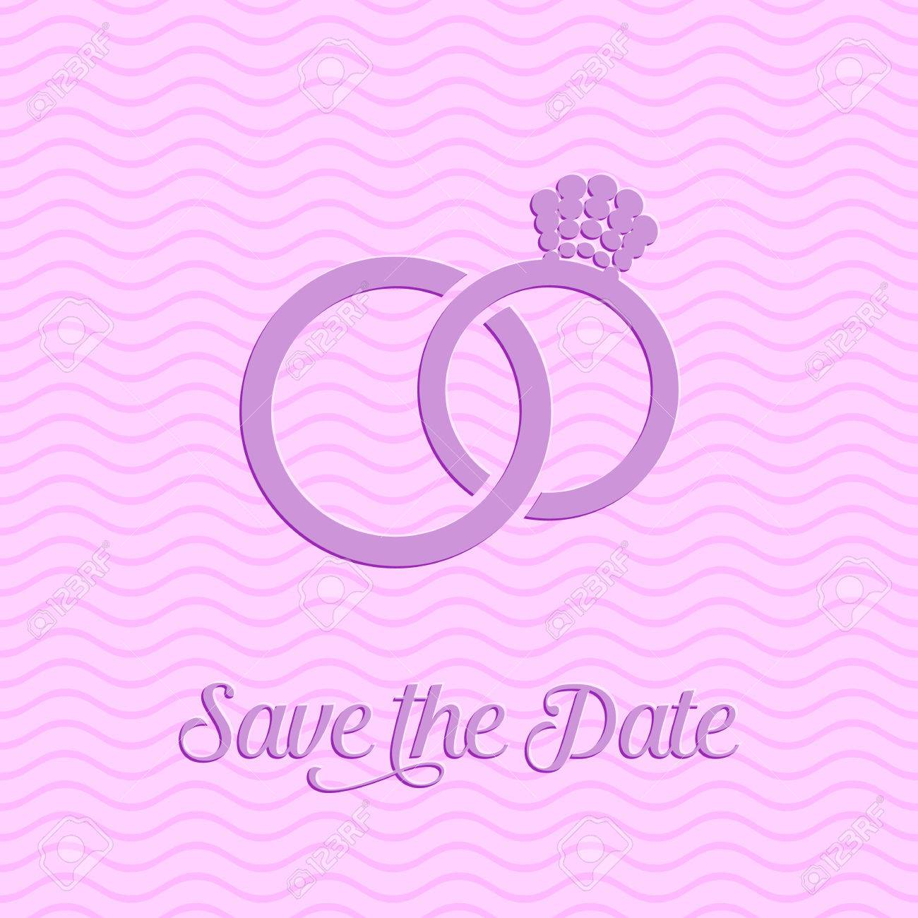 Wedding Rings Icon On Pink Background Carved Design Royalty Free ...