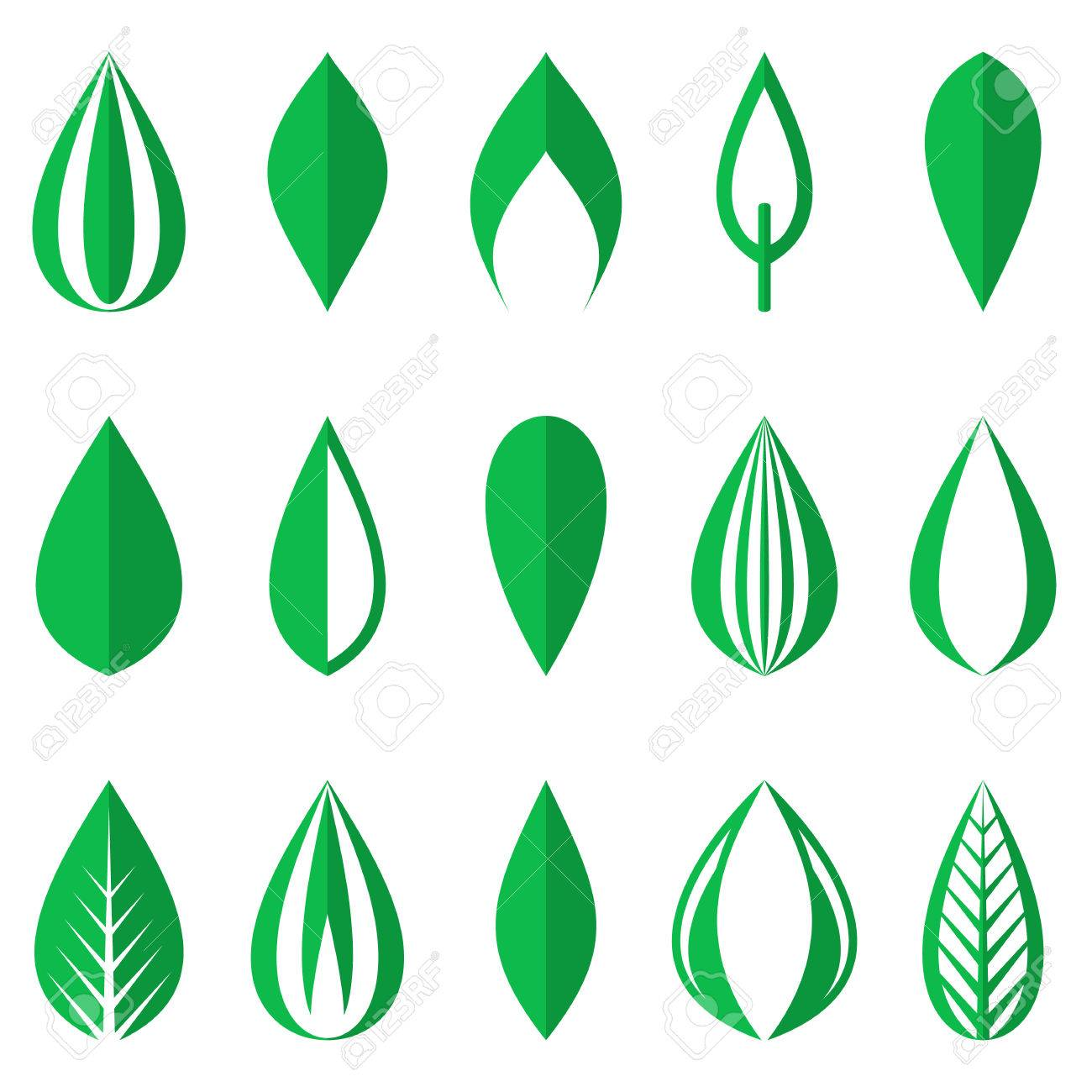 Different Origami Green Simple Leaves On White Background Stock Vector