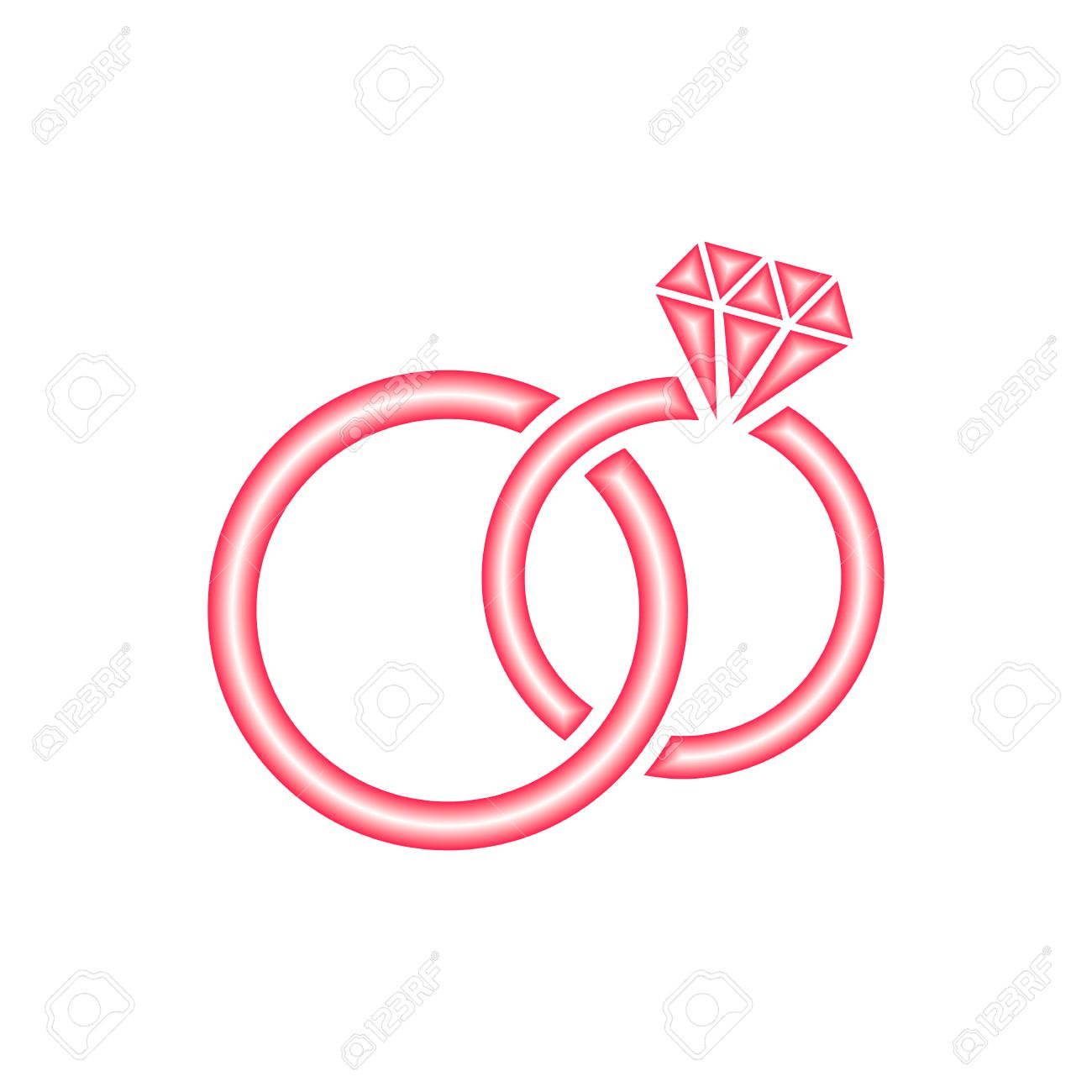 Red Vector Stylized Wedding Rings Icon On White Royalty Free ...
