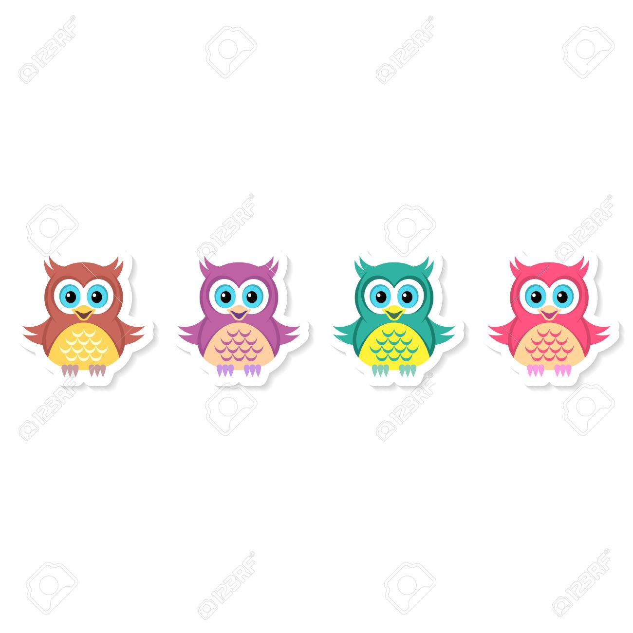 cute vector colorful cartoon character owl labels collection royalty