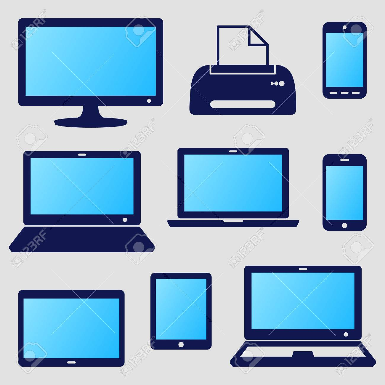 Vector Modern Digital Device Icons With Blue Screen Royalty Free ...