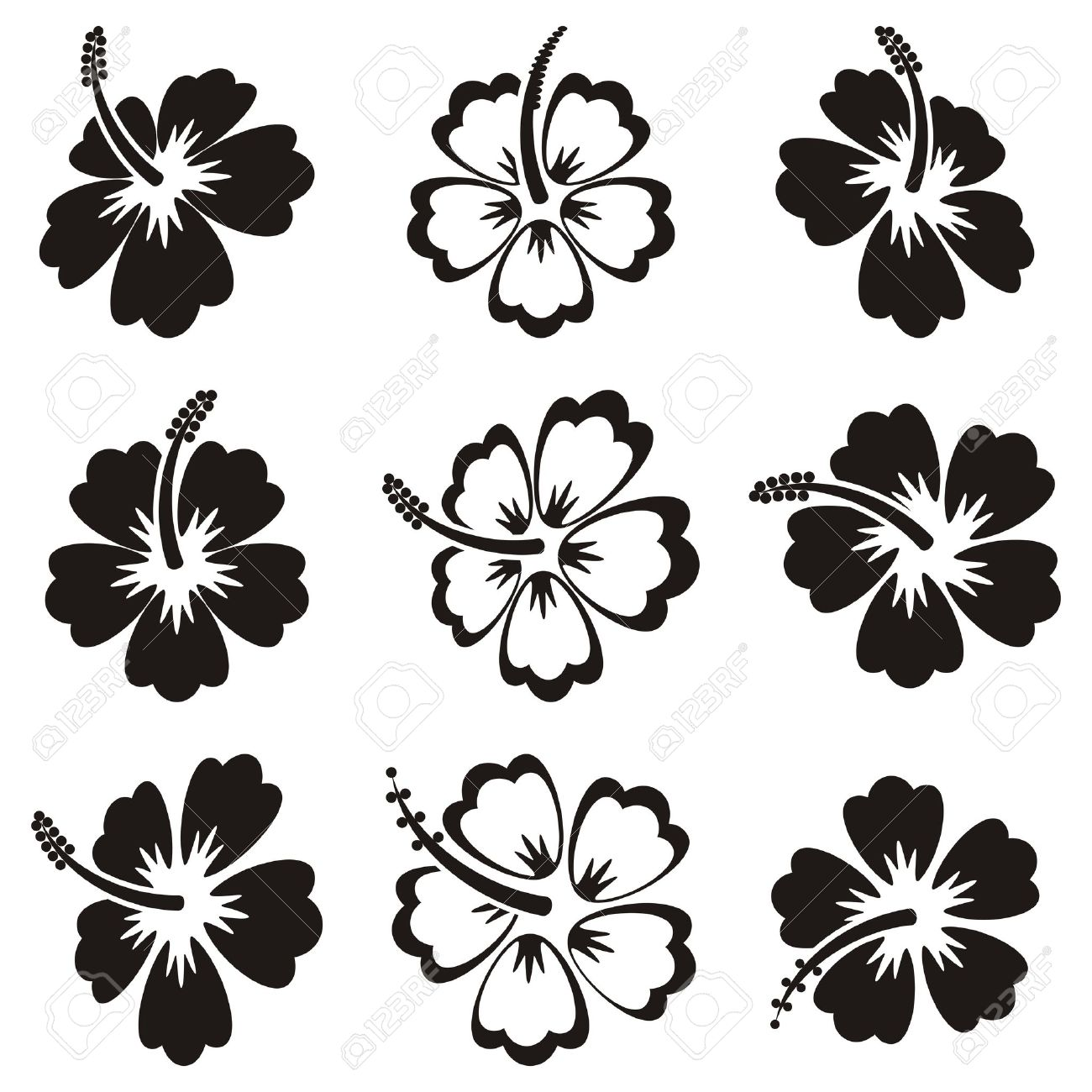 black vector hibiscus silhouette icons on white background royalty rh 123rf com hibiscus vectoriel free hibiscus vector free