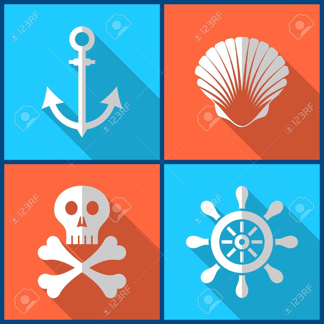 Iconos Piratas Blancos En Cuadrados De Colores De Diseño Plana ...