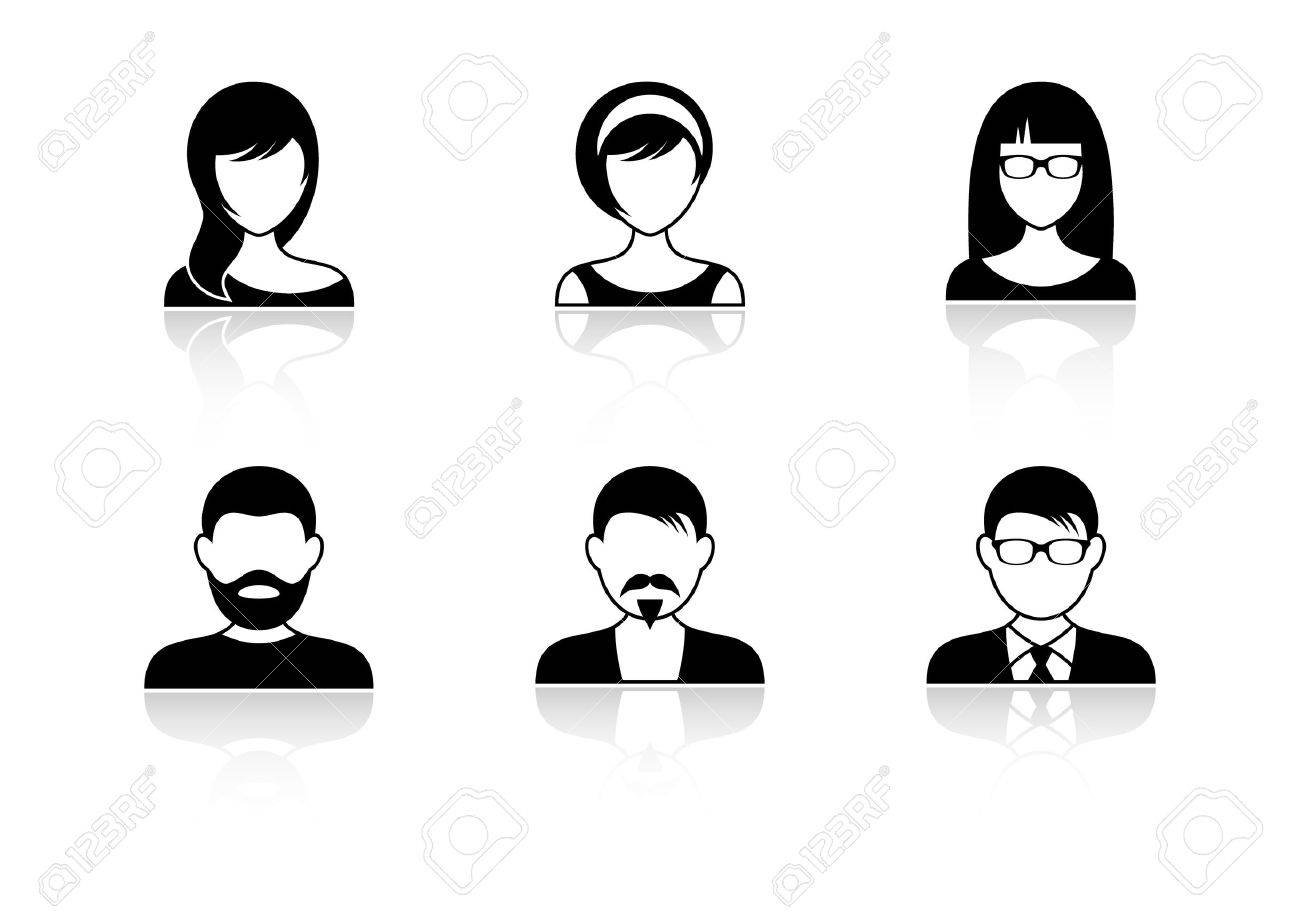 Woman face profile shadow images stock pictures royalty free men and women icons with shadows reviewsmspy