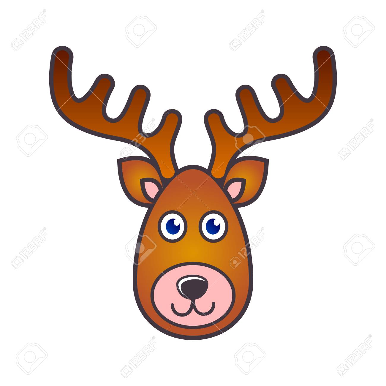 Simple Colorful Vector Reindeer Face Christmas Icon Stock