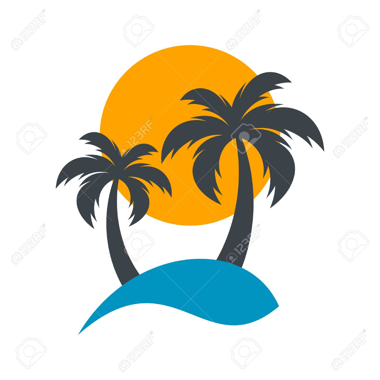 sun and palm trees summer beach vector illustration royalty free rh 123rf com beach vector free download beach vector art free