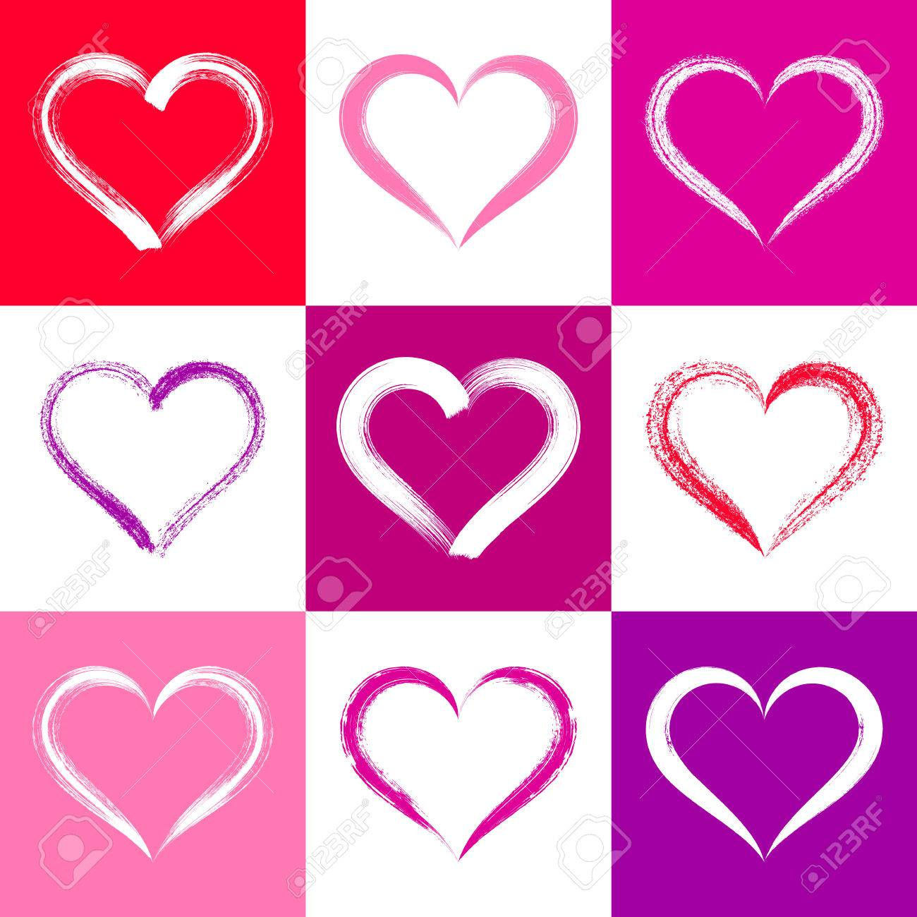Tarjeta De San Valentín De Colores Con El Vector De Pinceles ...