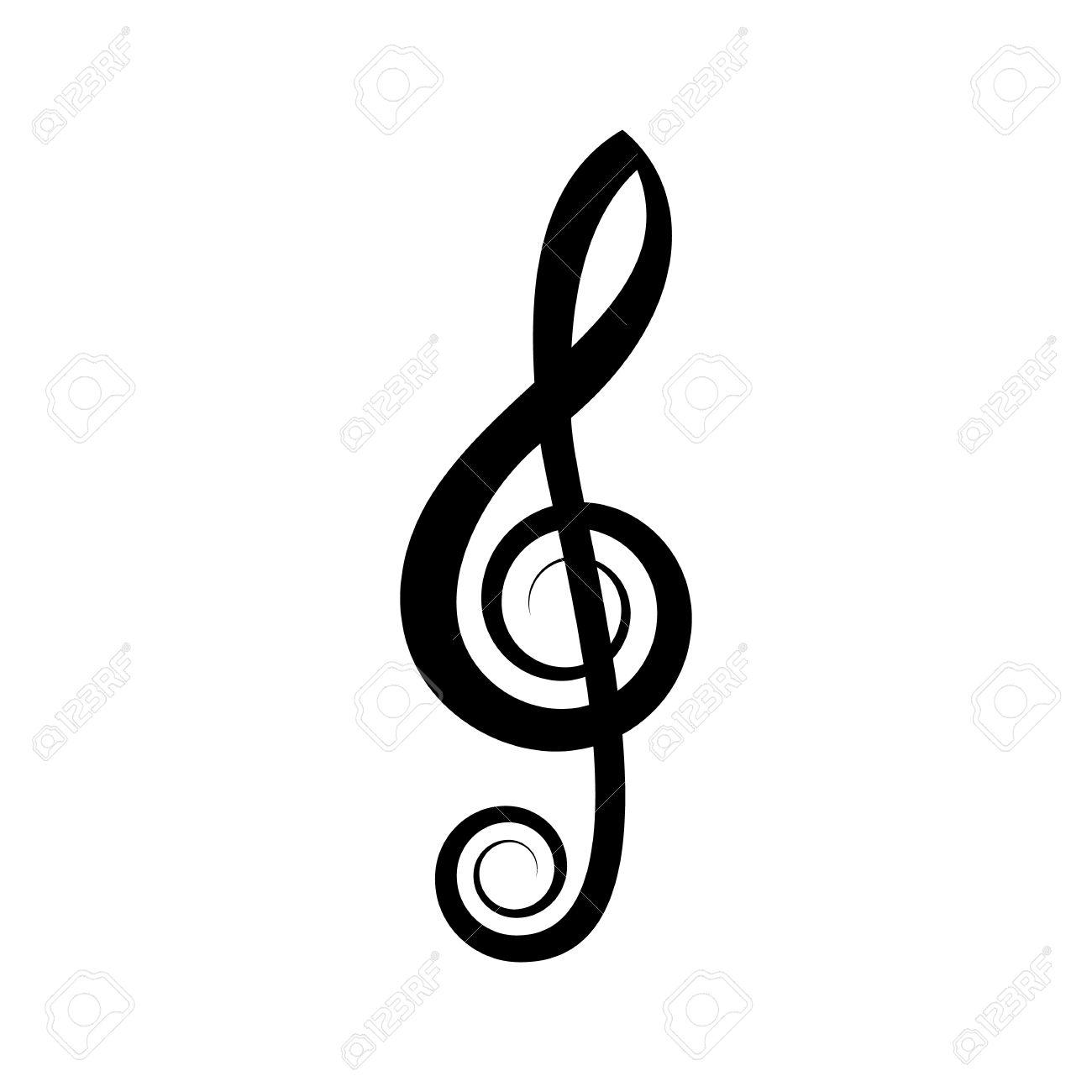 simple black vector treble clef icon on white royalty free cliparts rh 123rf com
