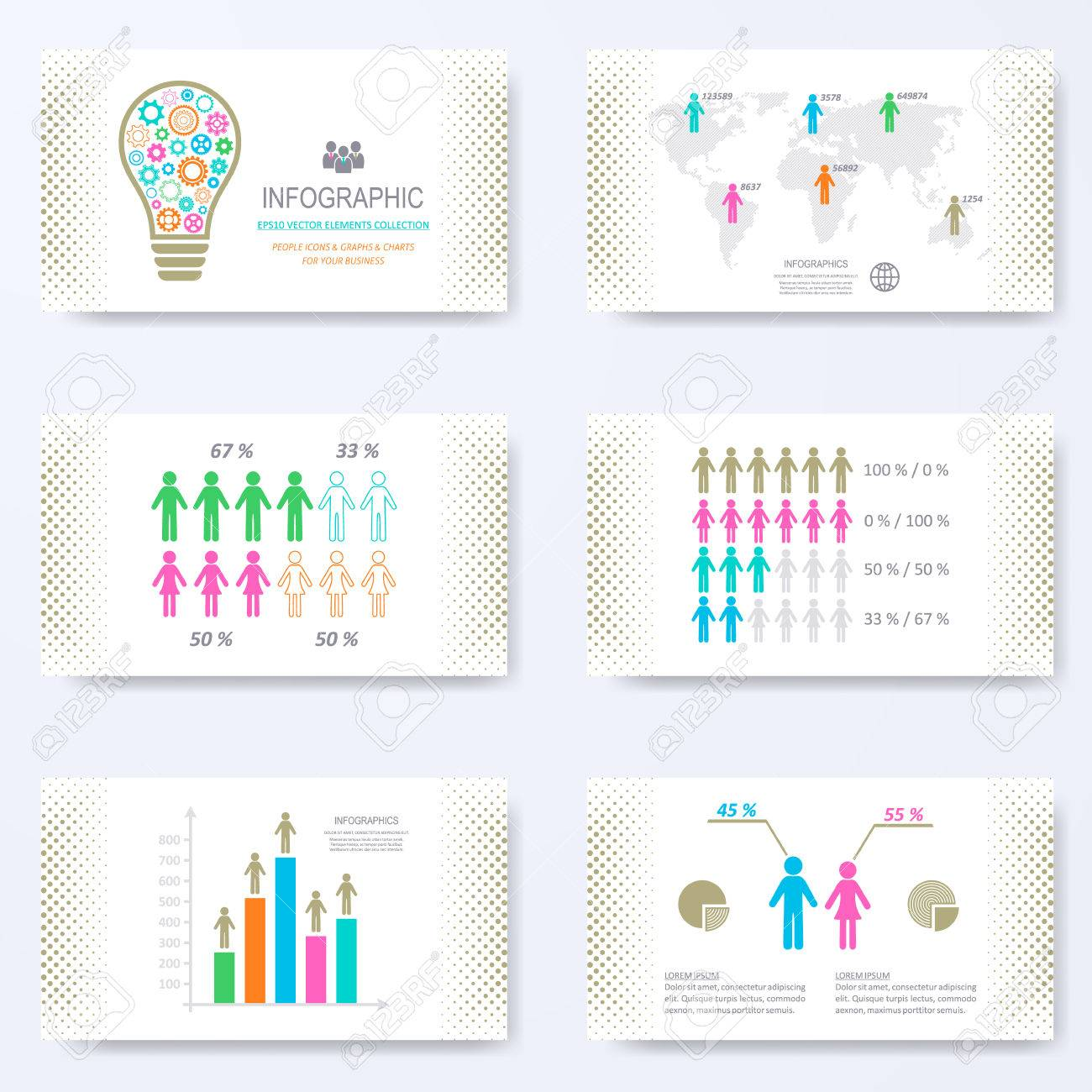 template for presentation slides with demographic signs royalty free
