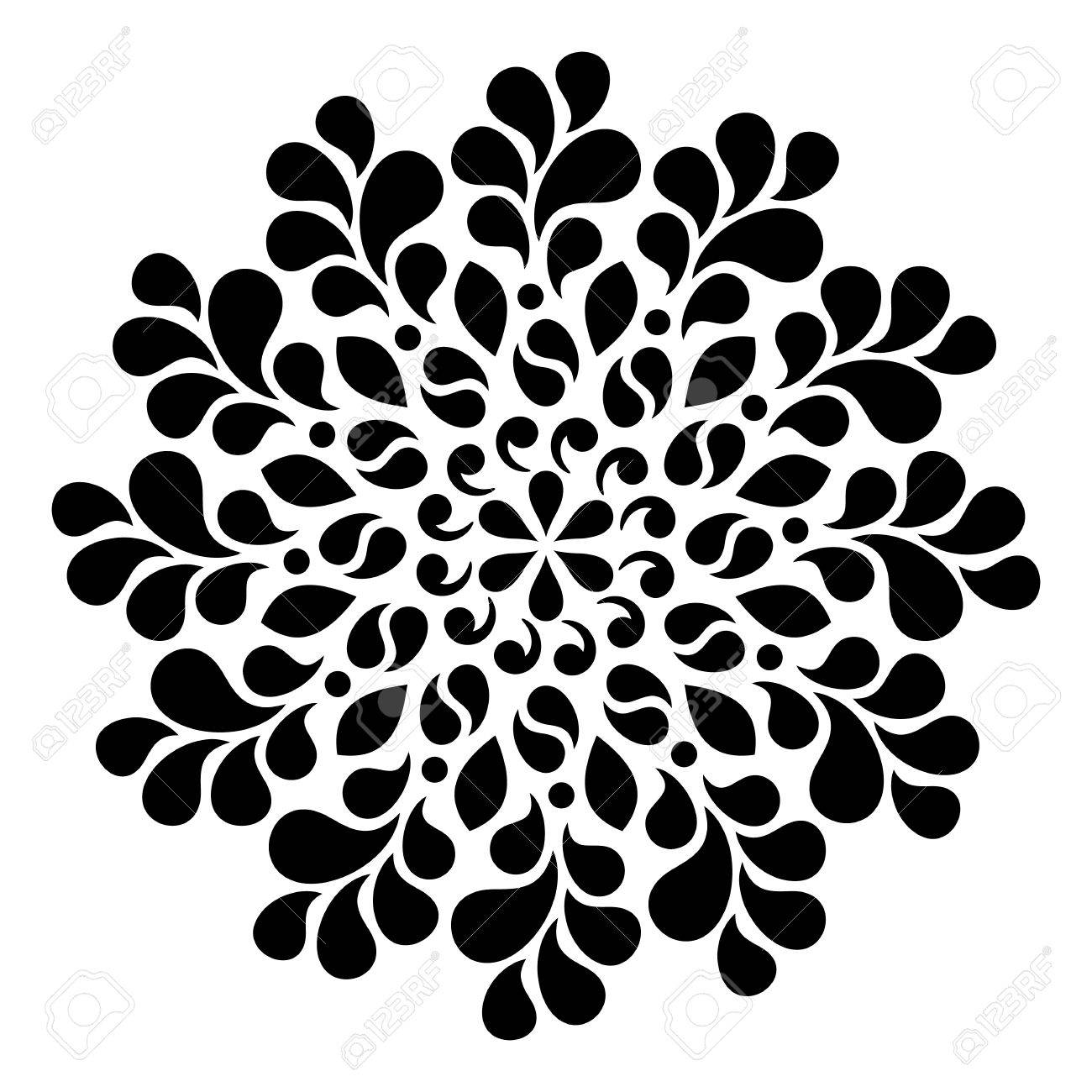 Black geometric abstract round mandala illustration - 56783542
