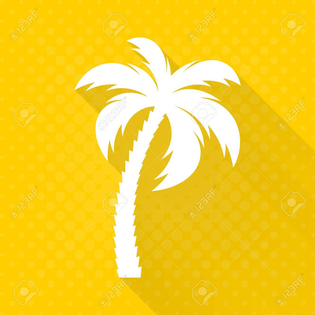white vector palm tree flat icon yellow background royalty free