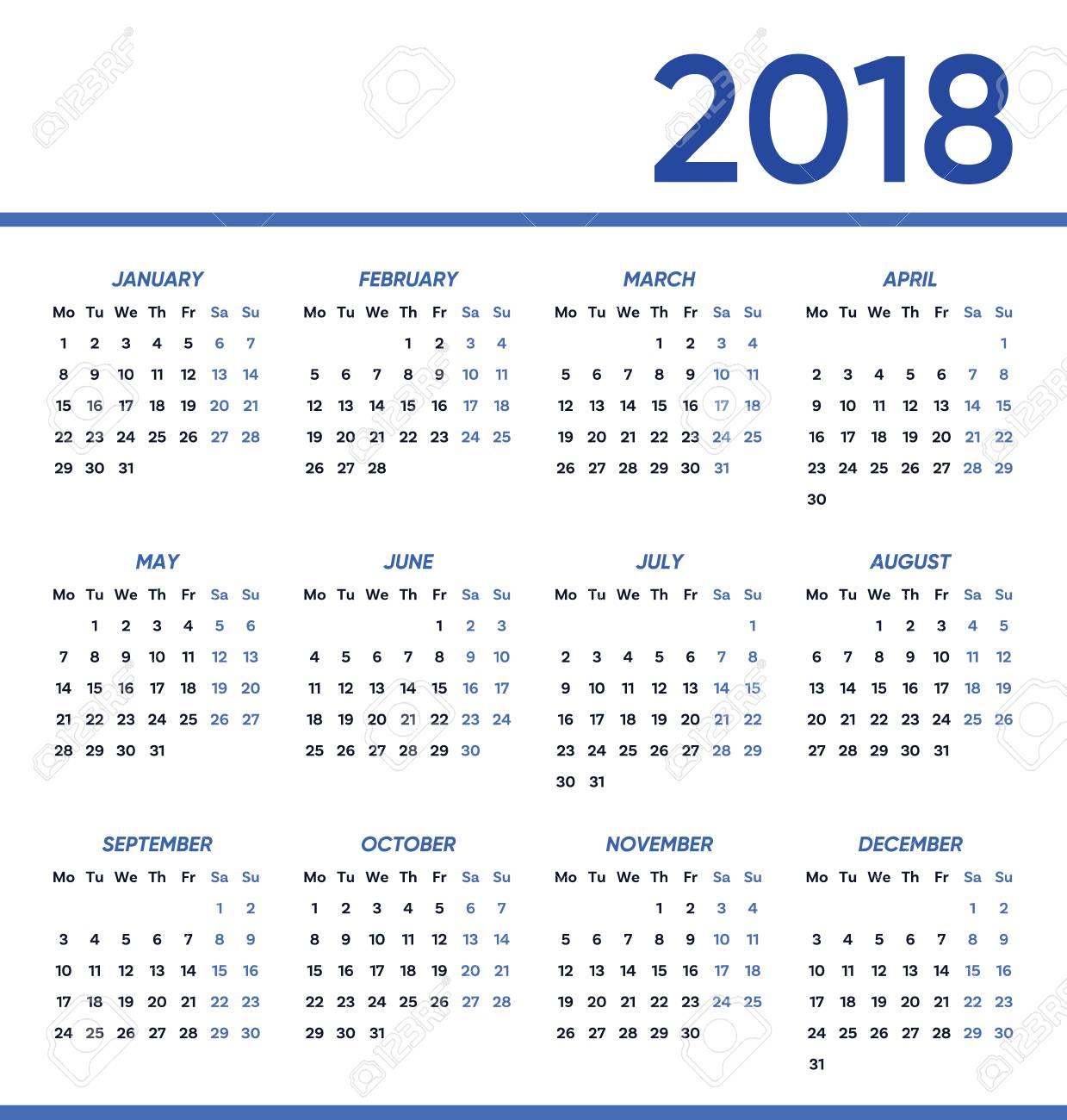 minimalist vector 2018 calendar stock vector 86699540