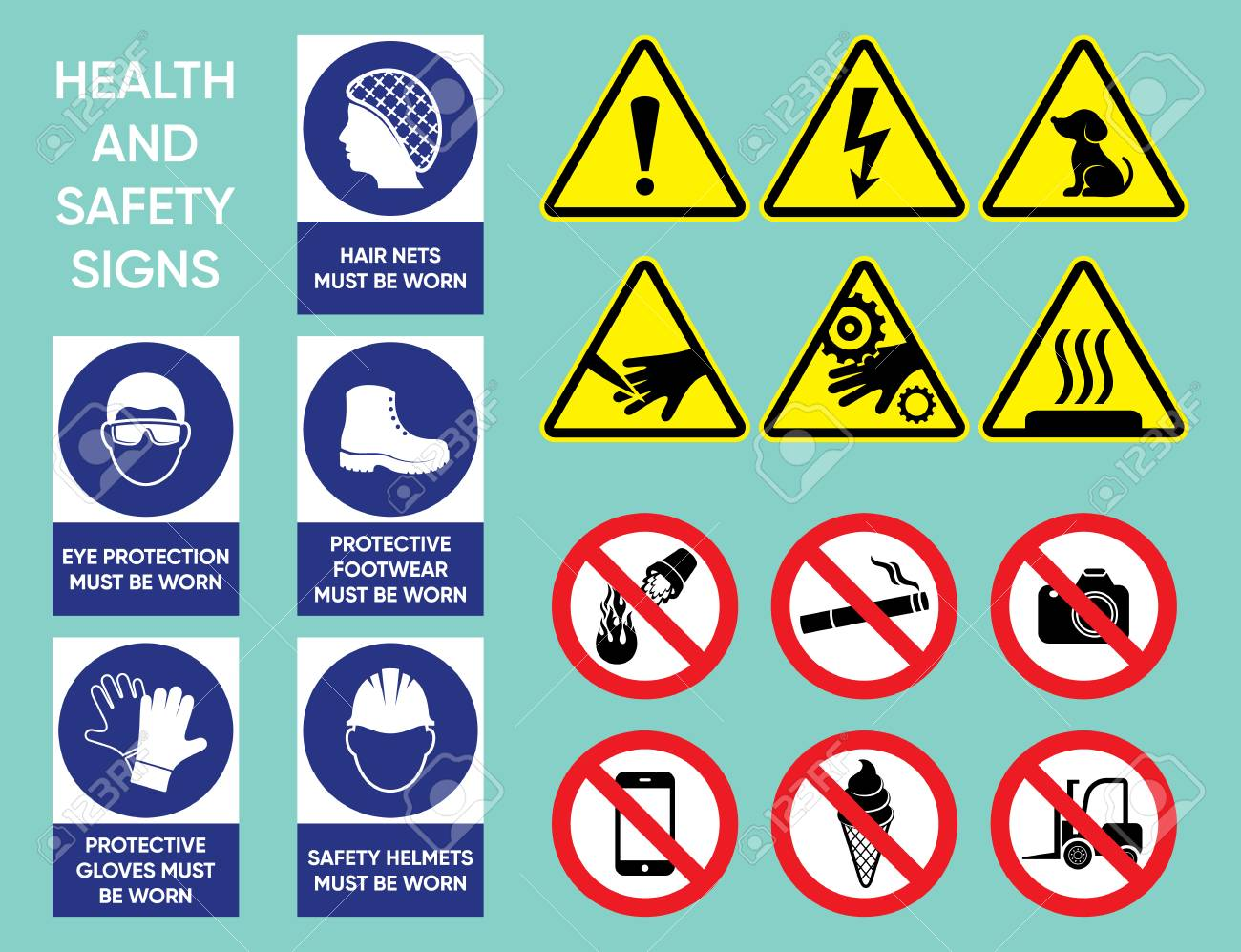 Health and safety signs collection royalty free cliparts vectors health and safety signs collection stock vector 86699542 biocorpaavc