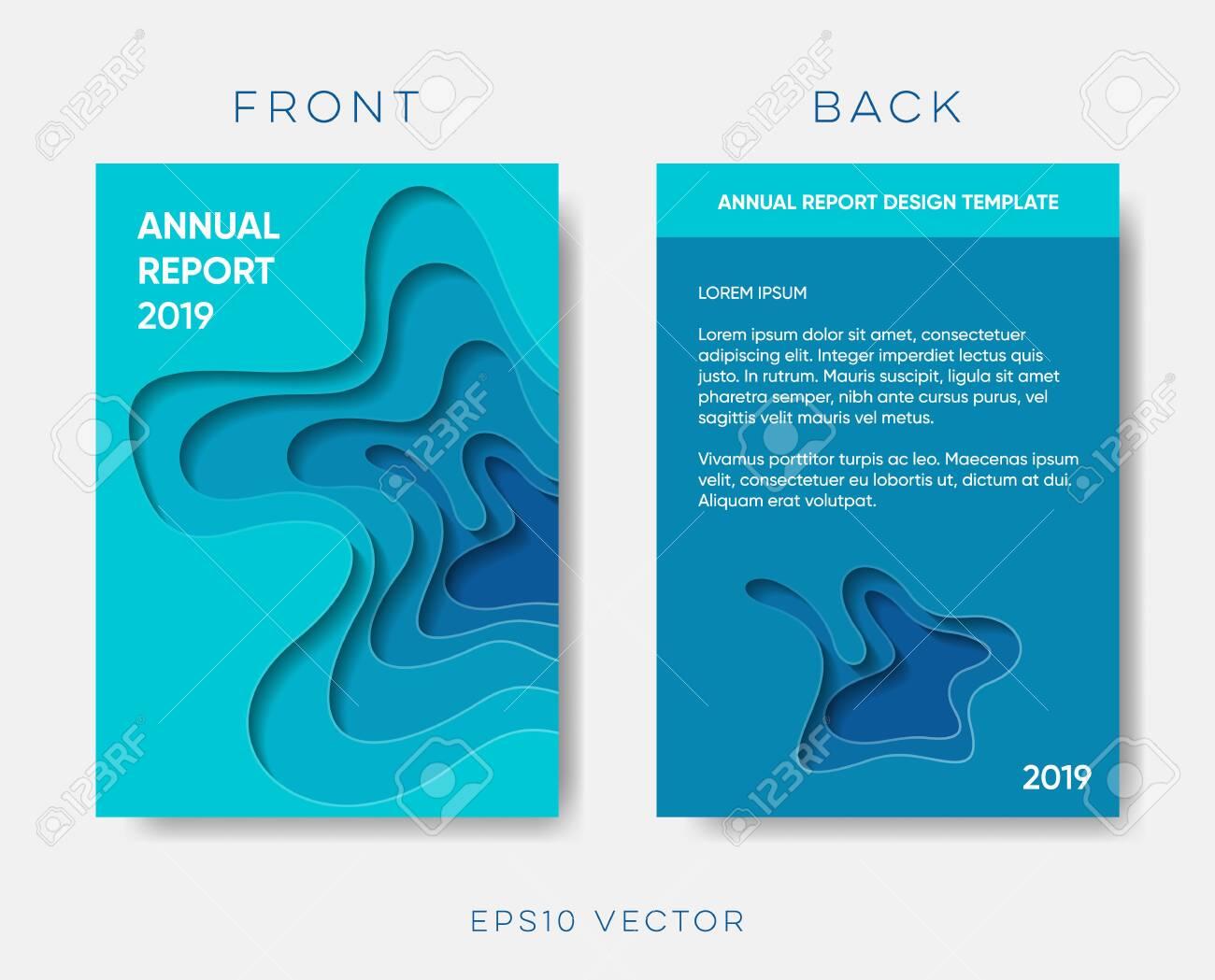 Annual report cover vector paper cut design - 124428709