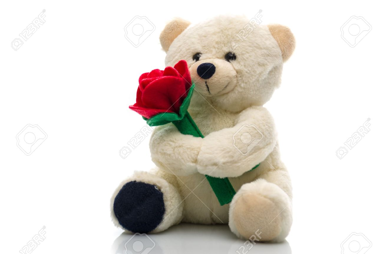 Soft plush teddy bear toy clutching a single red rose in its arms for an anniversary or Valentines celebration Stock Photo - 15046576