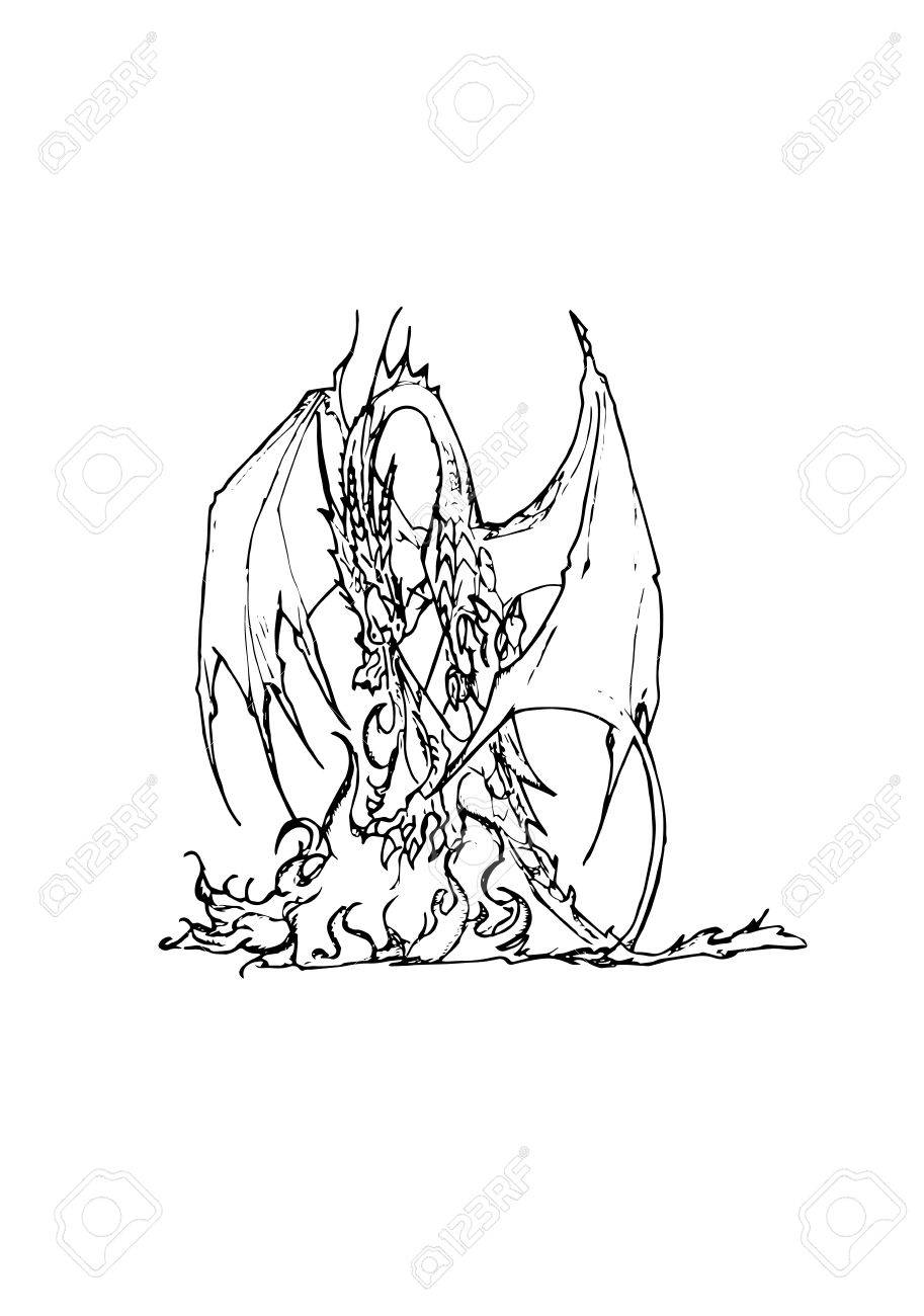 Firebreathing Dragon Stock Vector 20550231 Realistic Dragon Coloring Pages  Free Printable Dragon Coloring Pages For Kids How To Draw A Fire Breathing