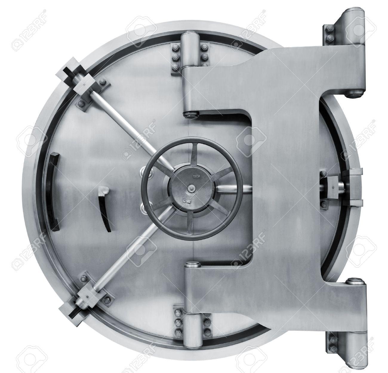La Porte De La Chambre Forte De La Banque Métallique Sur Un Fond ...