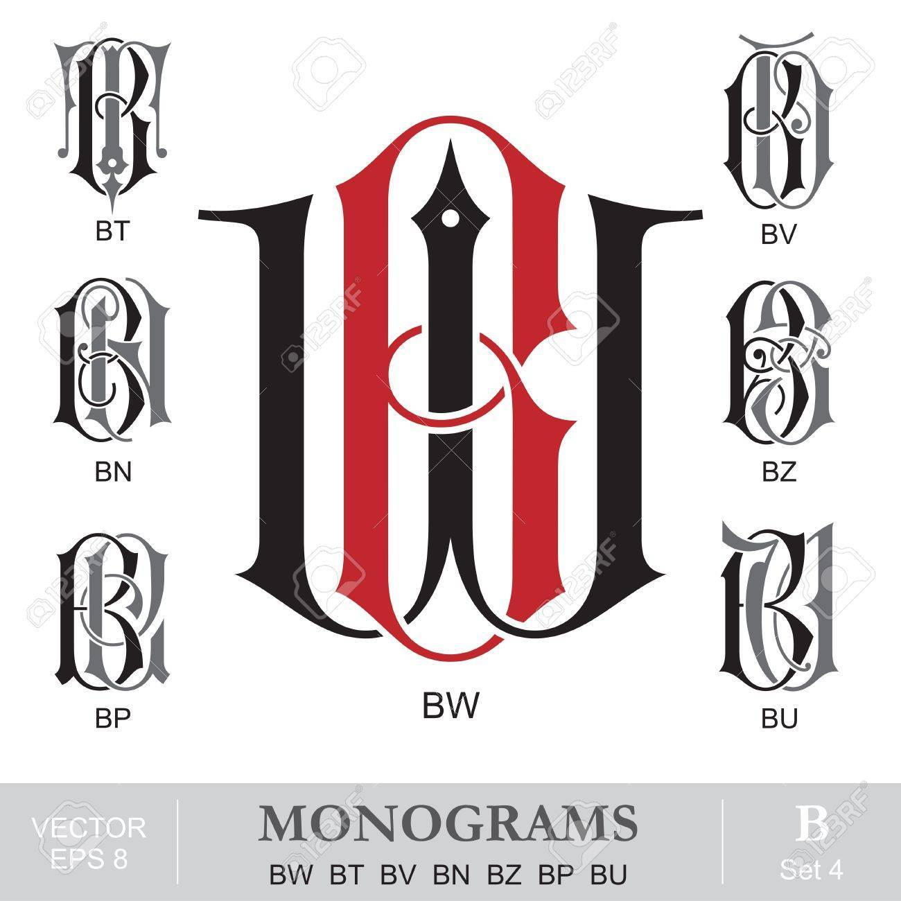 Vintage Monograms Bw Bt Bv Bn Bz Bp Bu Royalty Free Cliparts Vectors And Stock Illustration Image 21576989