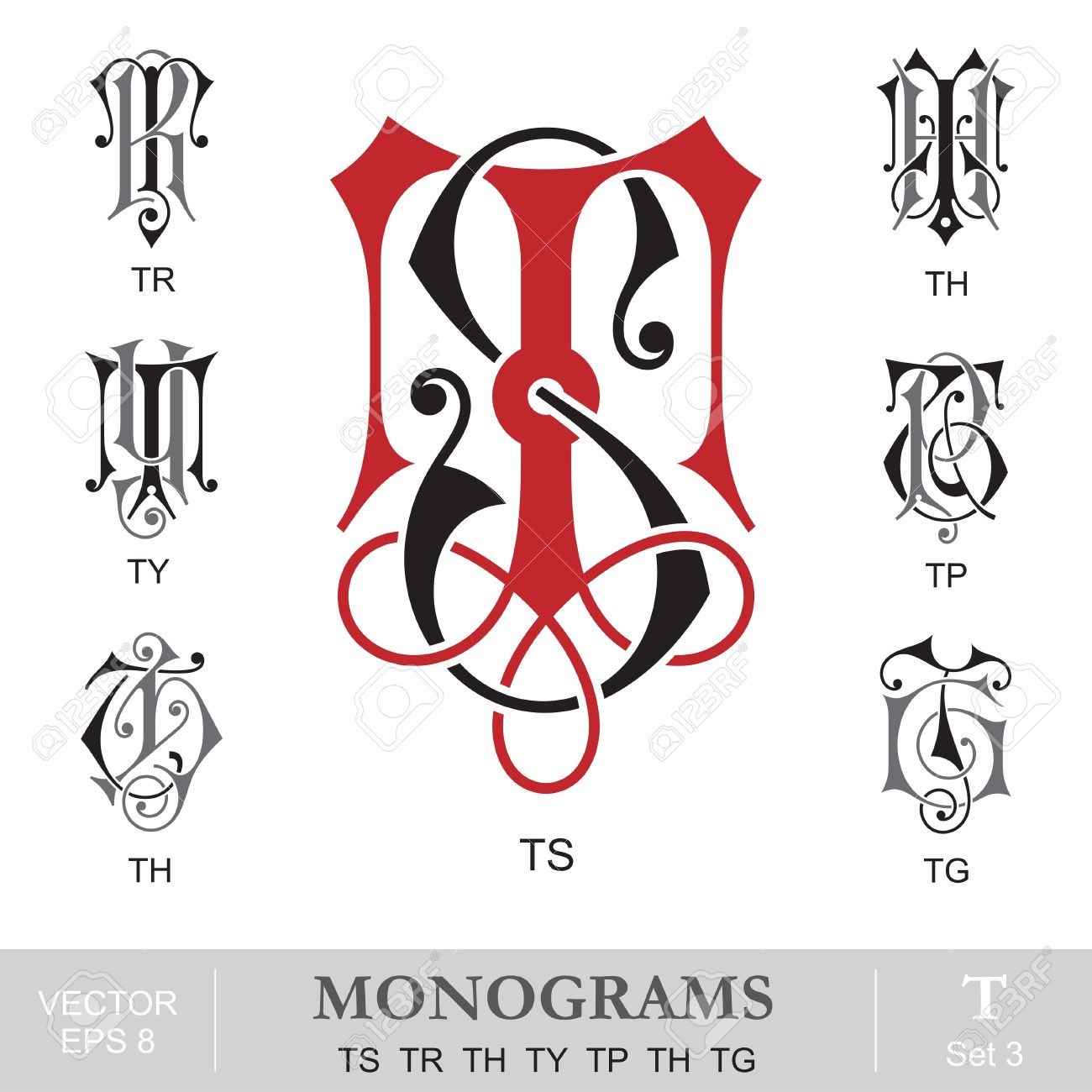 monogram initials vintage monograms ts tr th ty tp th tg illustration