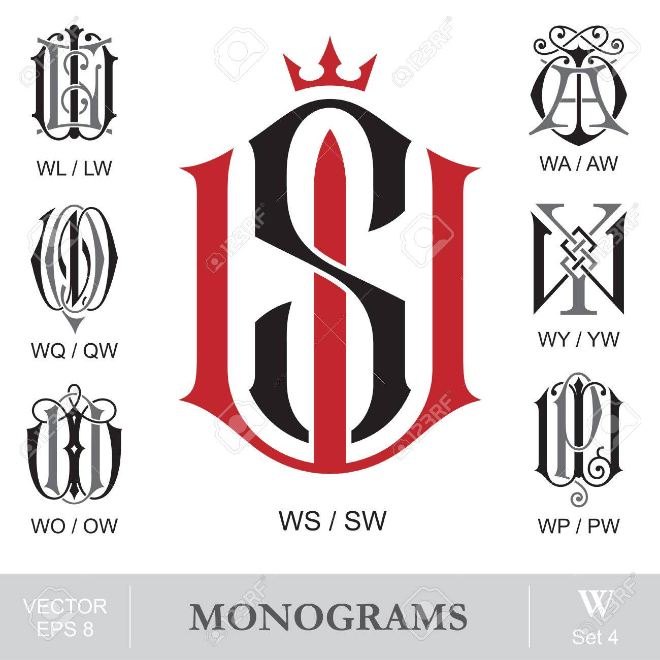 vintage monograms ws wl wa wq wy wo wp can also be sw lw aw qw