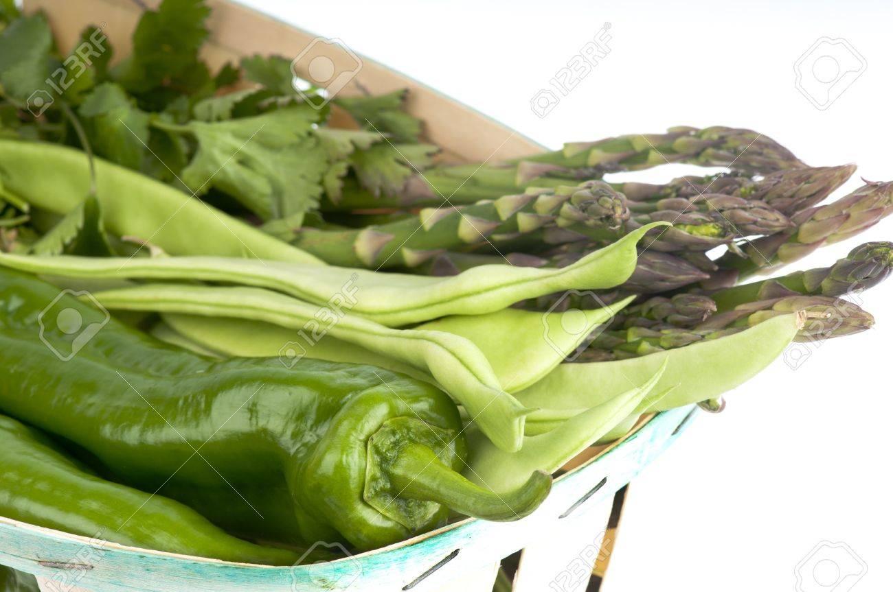 Cocinar Habichuelas   Cesta De Recien Elegido Habichuelas Verdes Esparragos Pimiento Y