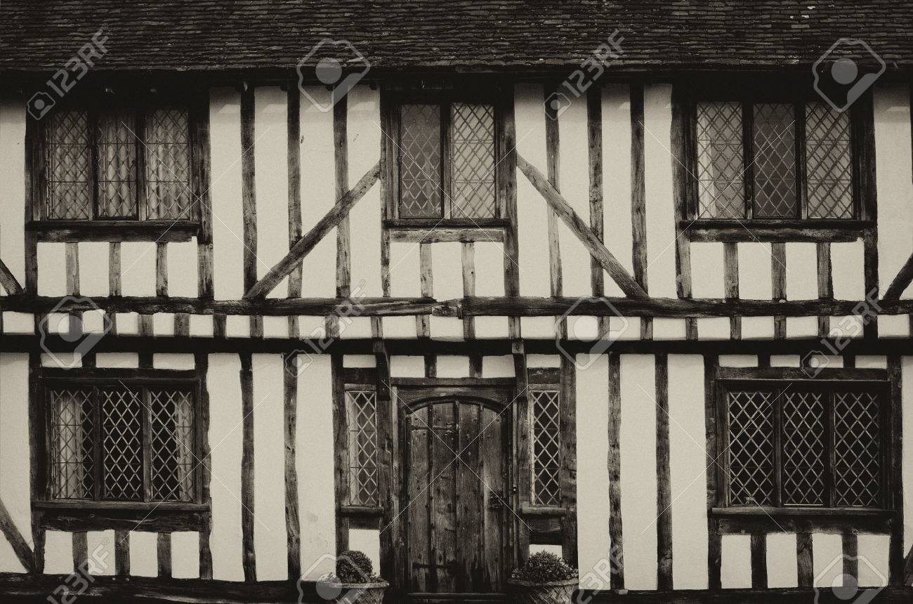 english half timbered black and white tudor houses from lavenham