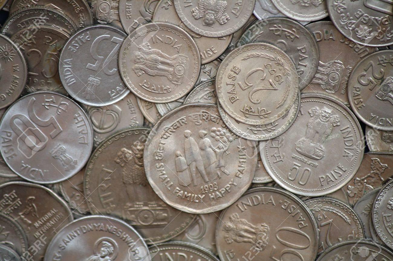 Indische Münzen Verschiedener Konfessionen Lizenzfreie Fotos Bilder