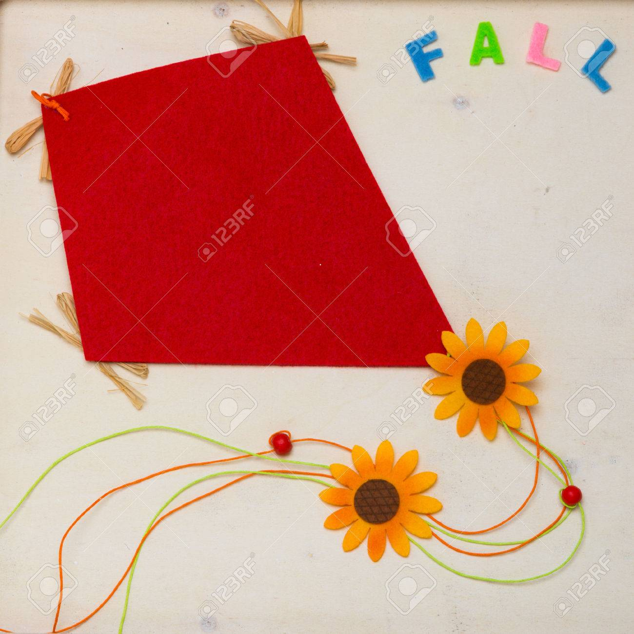 Homemade Paper Kite In White Wooden Picture Frame Stock Photo