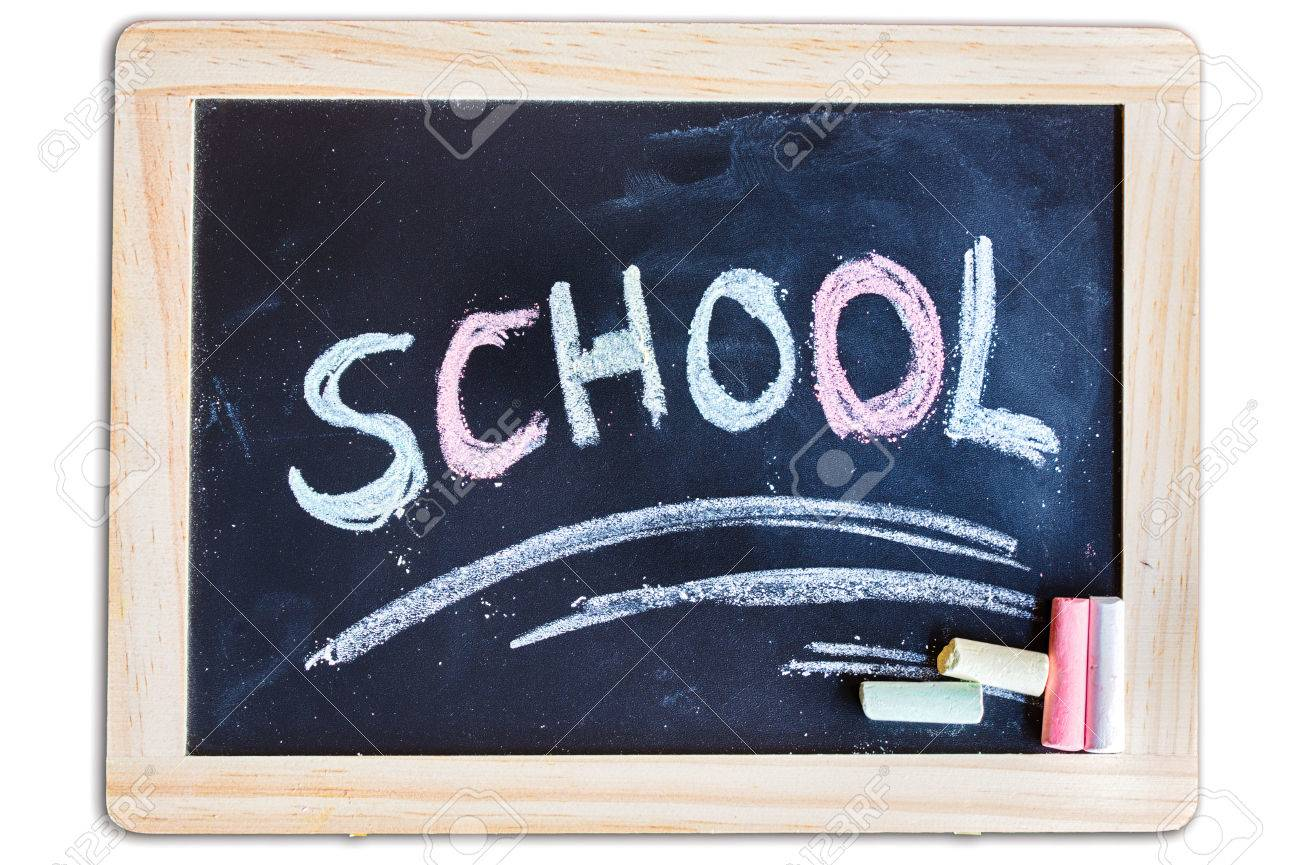 The Word School Write Down On A Chalkboard Stock Photo, Picture ...