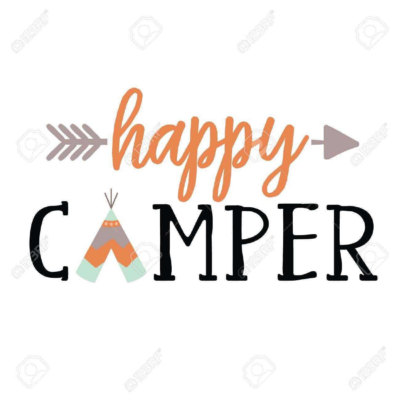 Happy Camper Vector Tribal Arrow Camping Tee Pee Native American