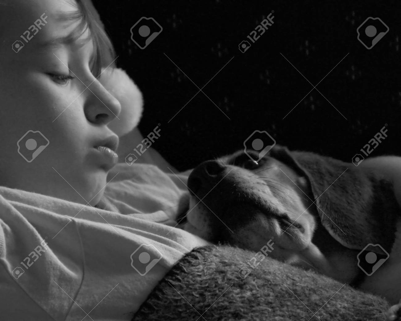 Loyality- Monochrome Photo of Child Sleeping with Pet Dog Stock Photo - 945203