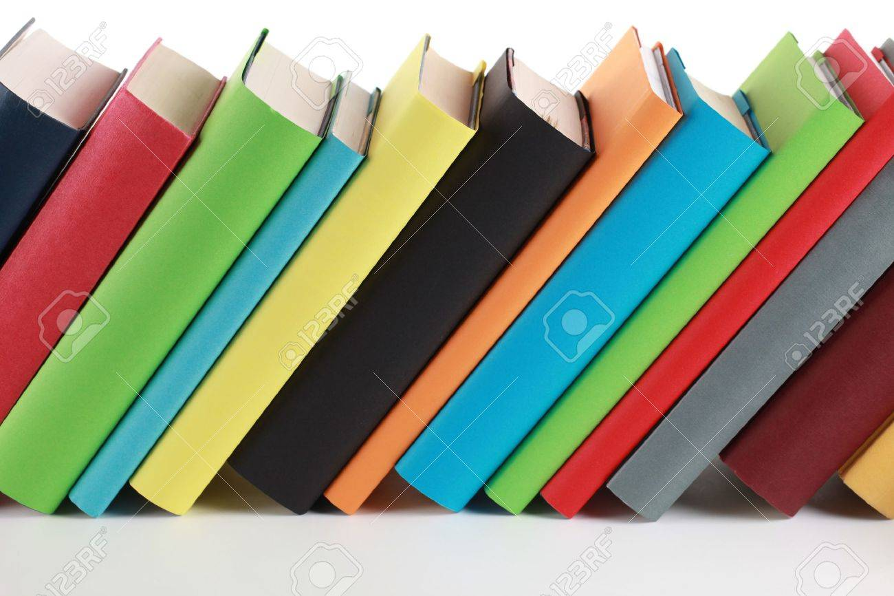 Colorful books with lots of copyspace for your own text on the book spines - 18131444
