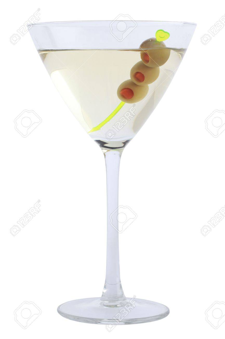 Martini Bianco With Olives In A Cocktail Glass Isolated On White